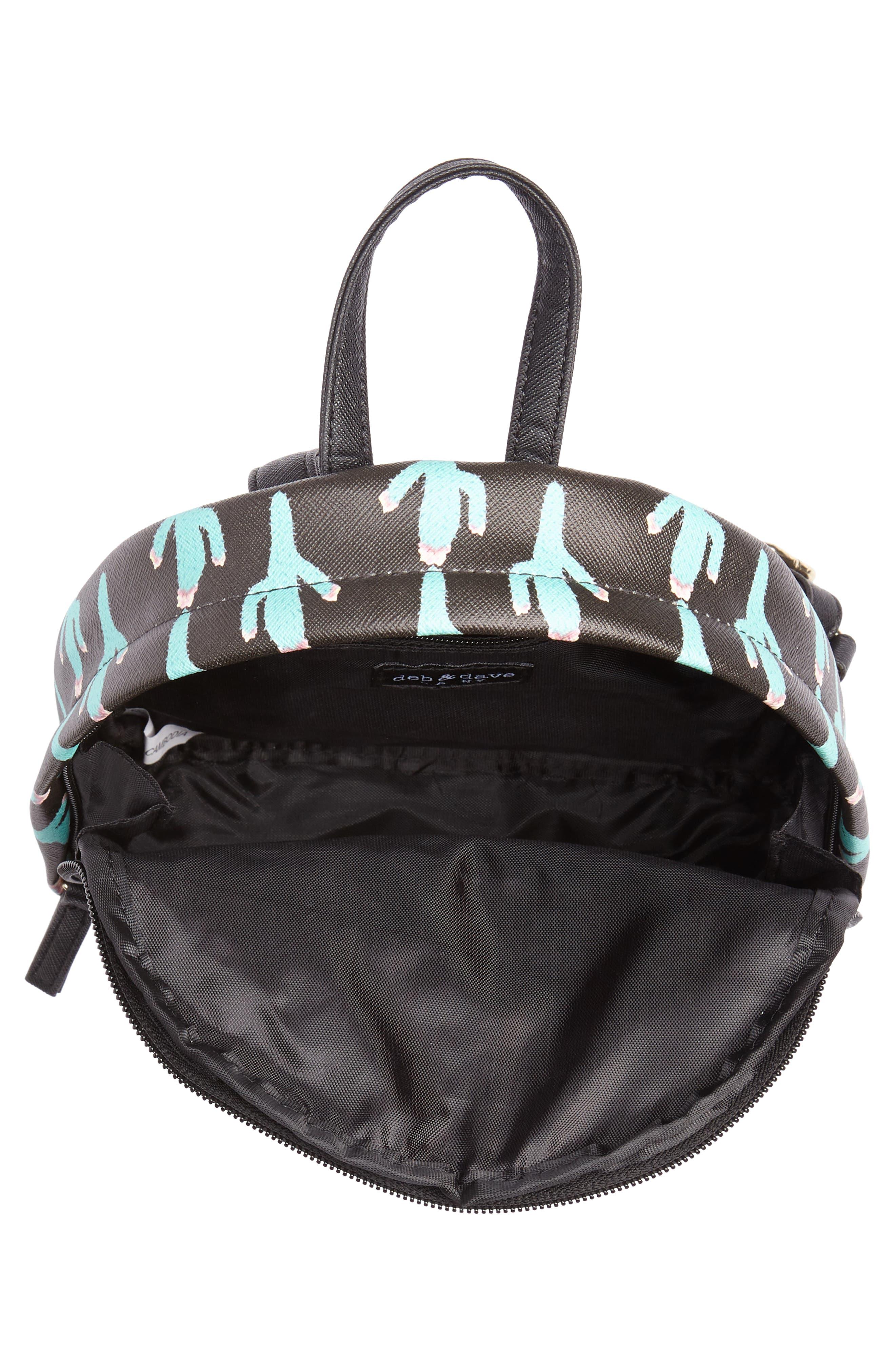 Cactus Print Mini Backpack,                             Alternate thumbnail 3, color,                             BLACK