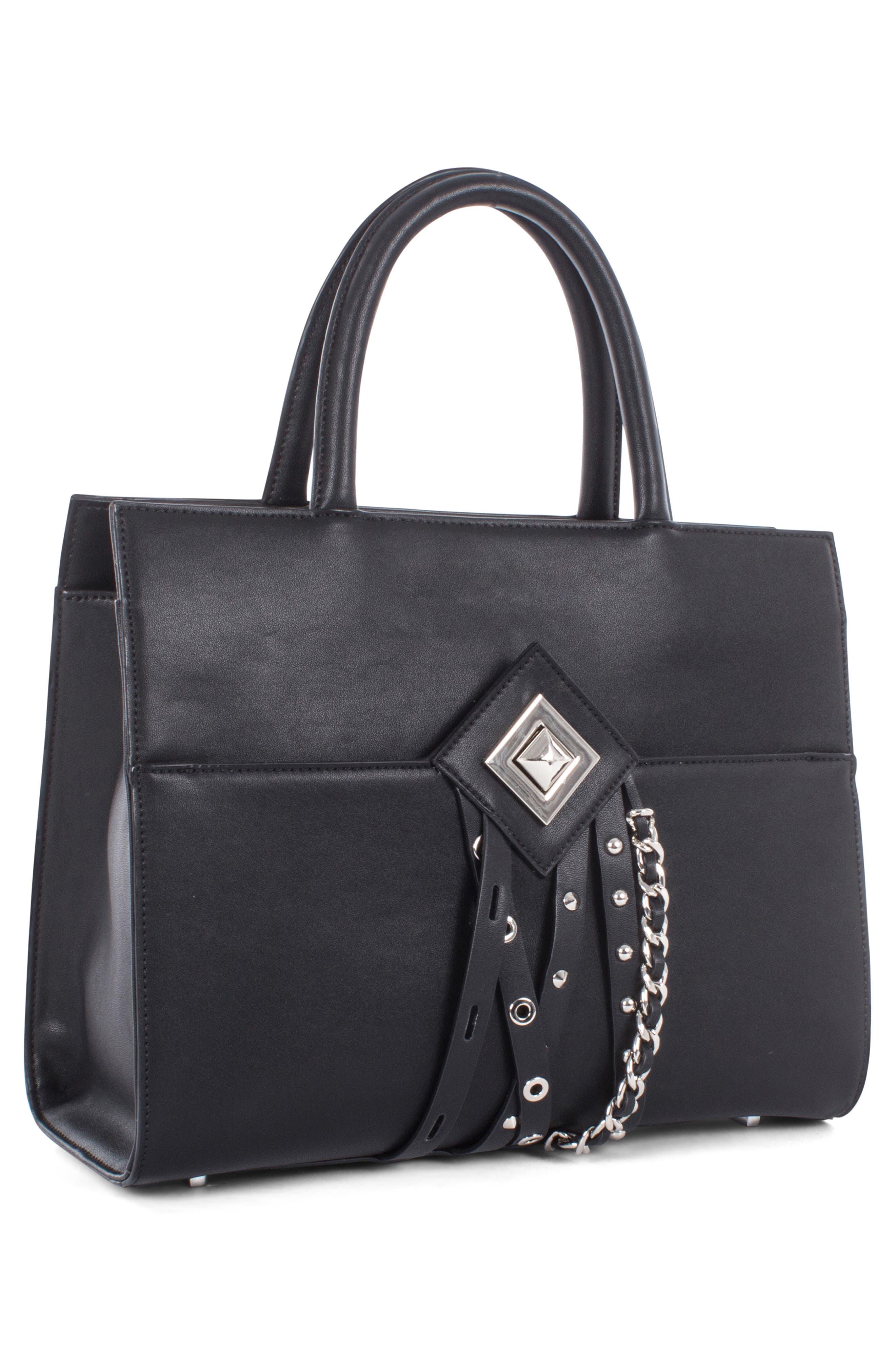 Céline Dion Legato Faux Leather Satchel,                             Alternate thumbnail 4, color,                             BLACK