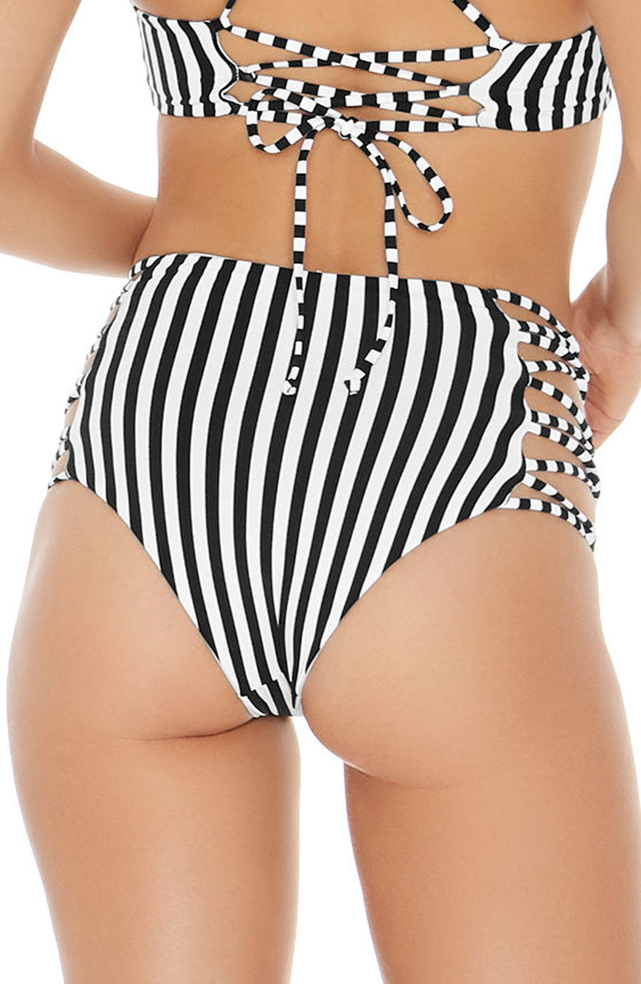 Domino Stripe Reversible Bikini Bottoms,                             Alternate thumbnail 3, color,                             007