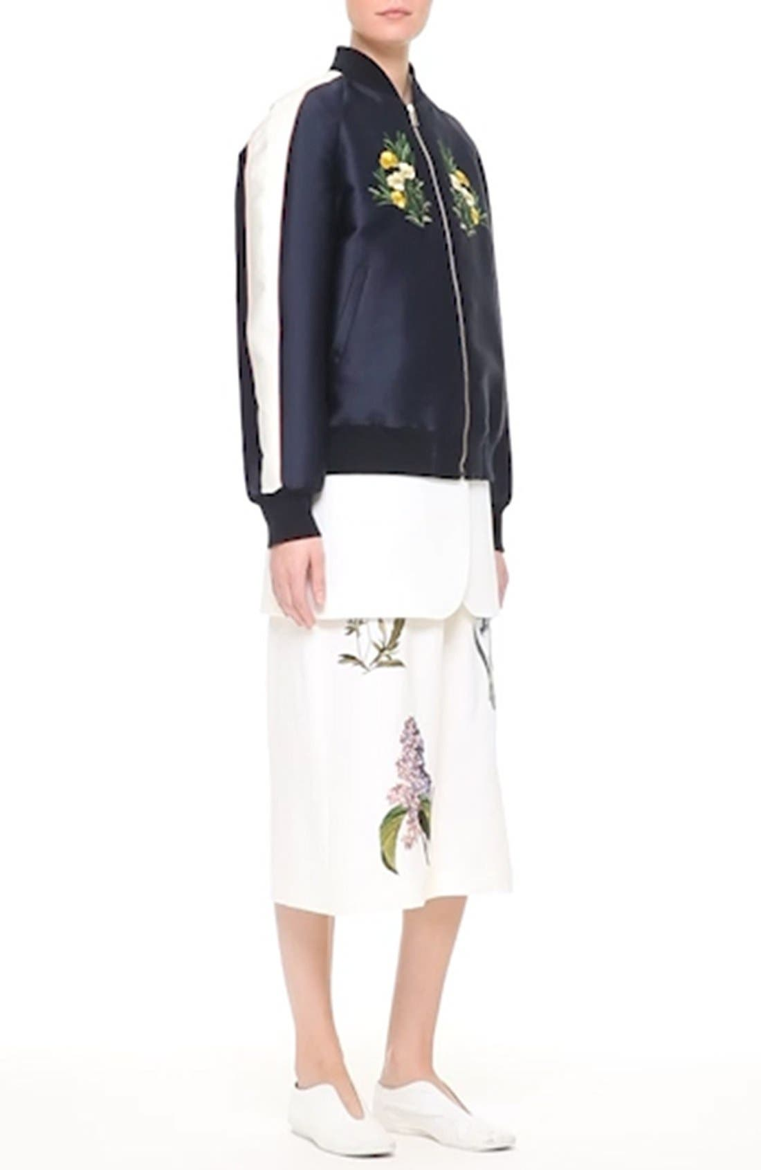 'Lorinda' Floral Embroidered Bomber Jacket,                             Alternate thumbnail 4, color,                             009