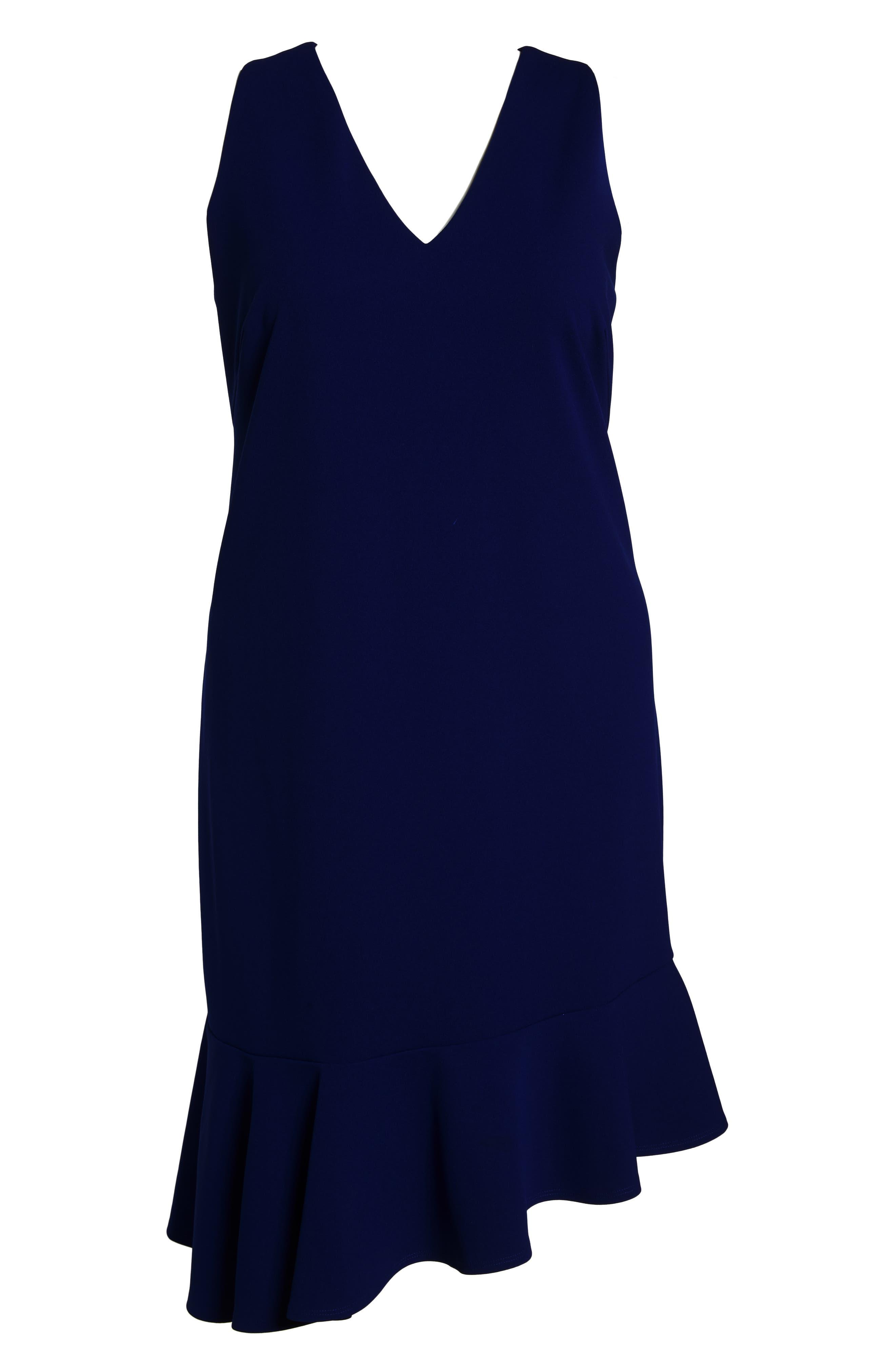 Ruffle Hem Scuba Crepe Body-Con Dress,                             Alternate thumbnail 7, color,                             430