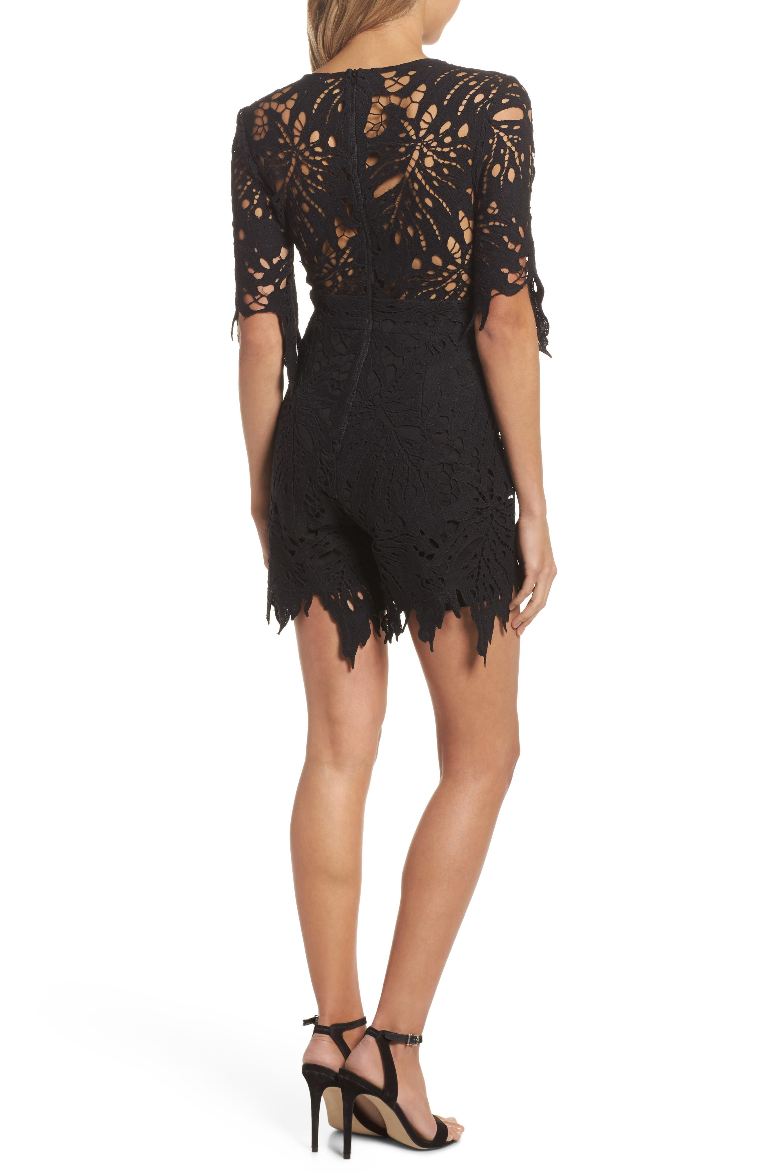 Amalfi Lace Romper,                             Alternate thumbnail 2, color,                             001