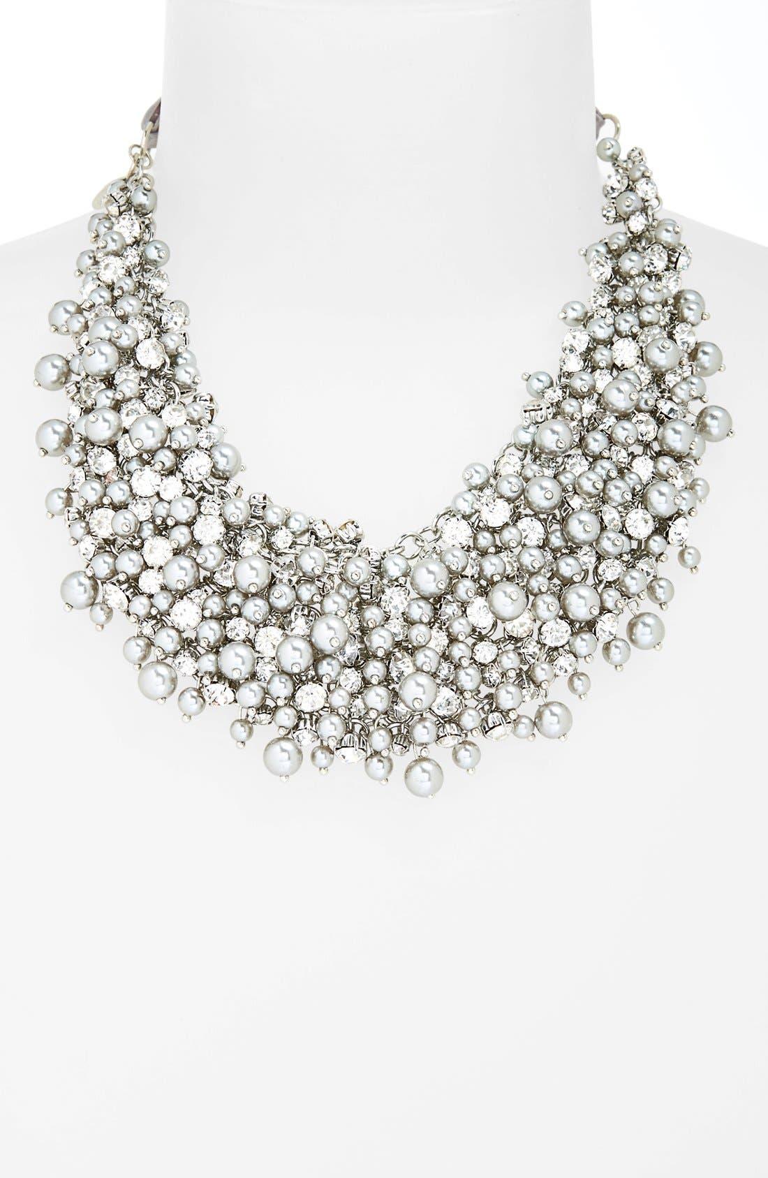 'Pretty Pearl' Ribbon Collar Necklace,                             Alternate thumbnail 2, color,                             020