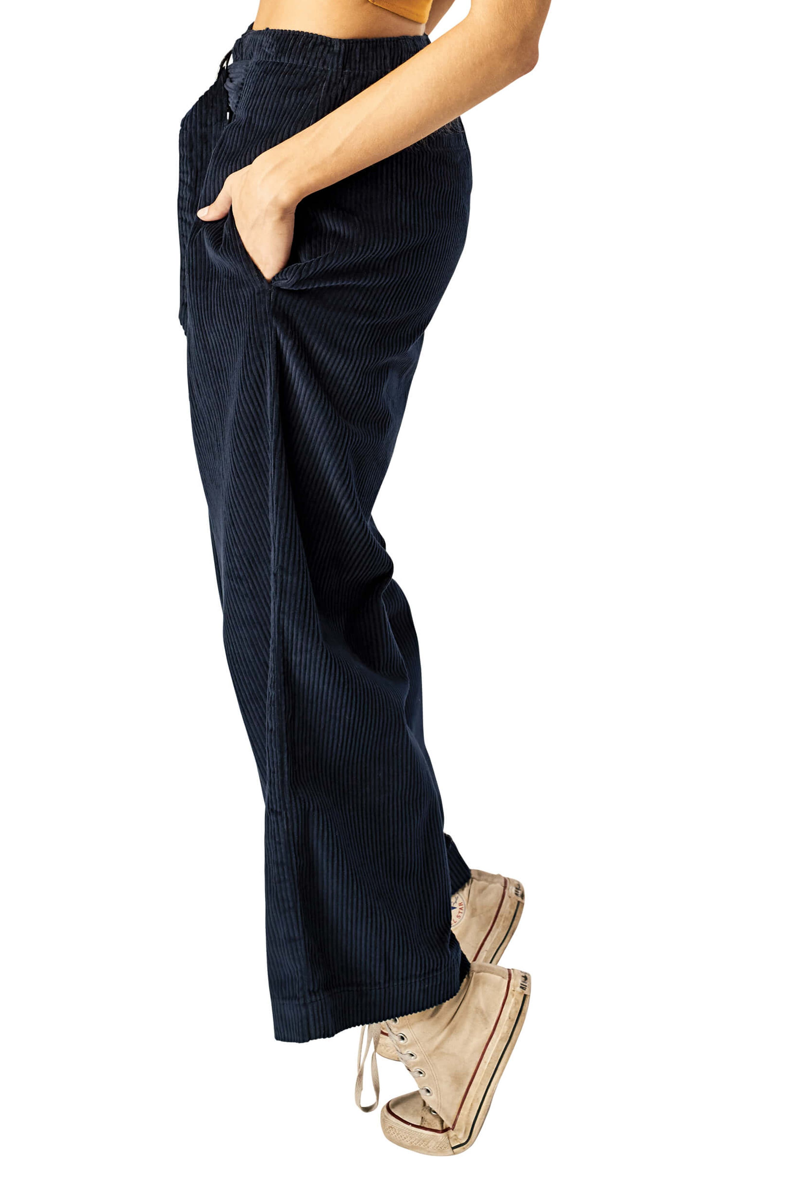 STONE ROW,                             Cut the Cord Corduroy Ankle Wide Leg Pants,                             Alternate thumbnail 3, color,                             SEA NAVY