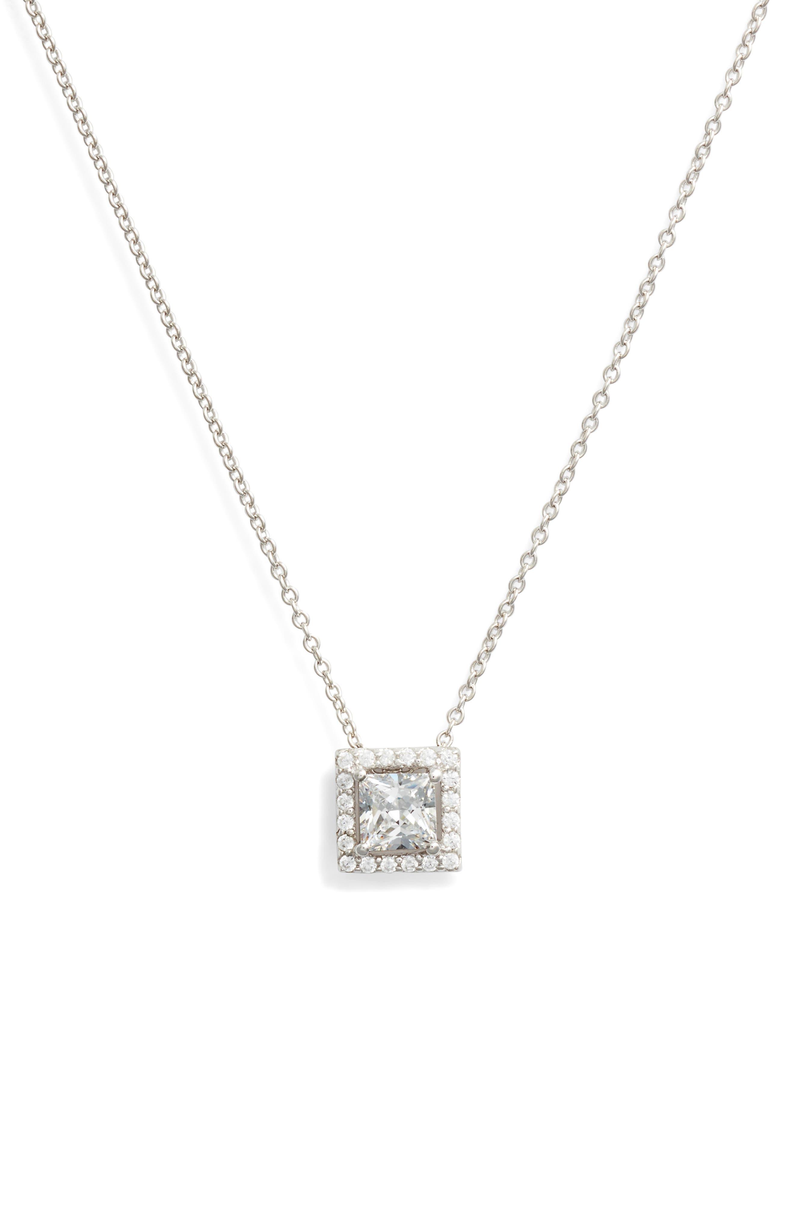 Princess-Cut Halo Necklace,                         Main,                         color, SILVER/ CLEAR