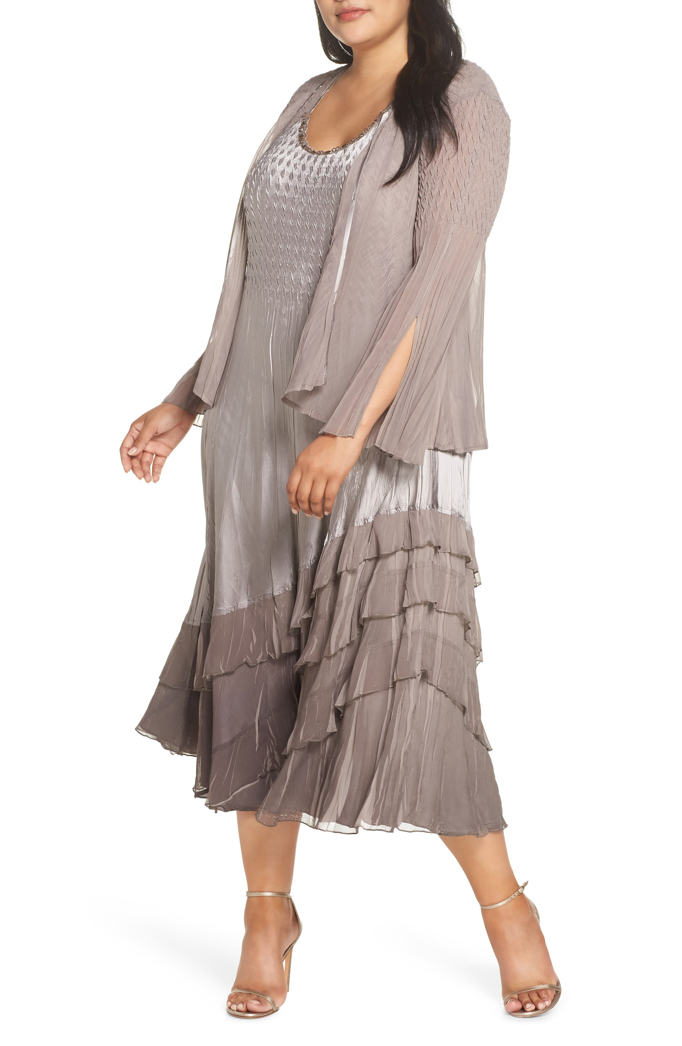 3b487a6c9d8c9c Plus Size Women's Komarov A-Line Dress With Jacket, Size 1X - Beige