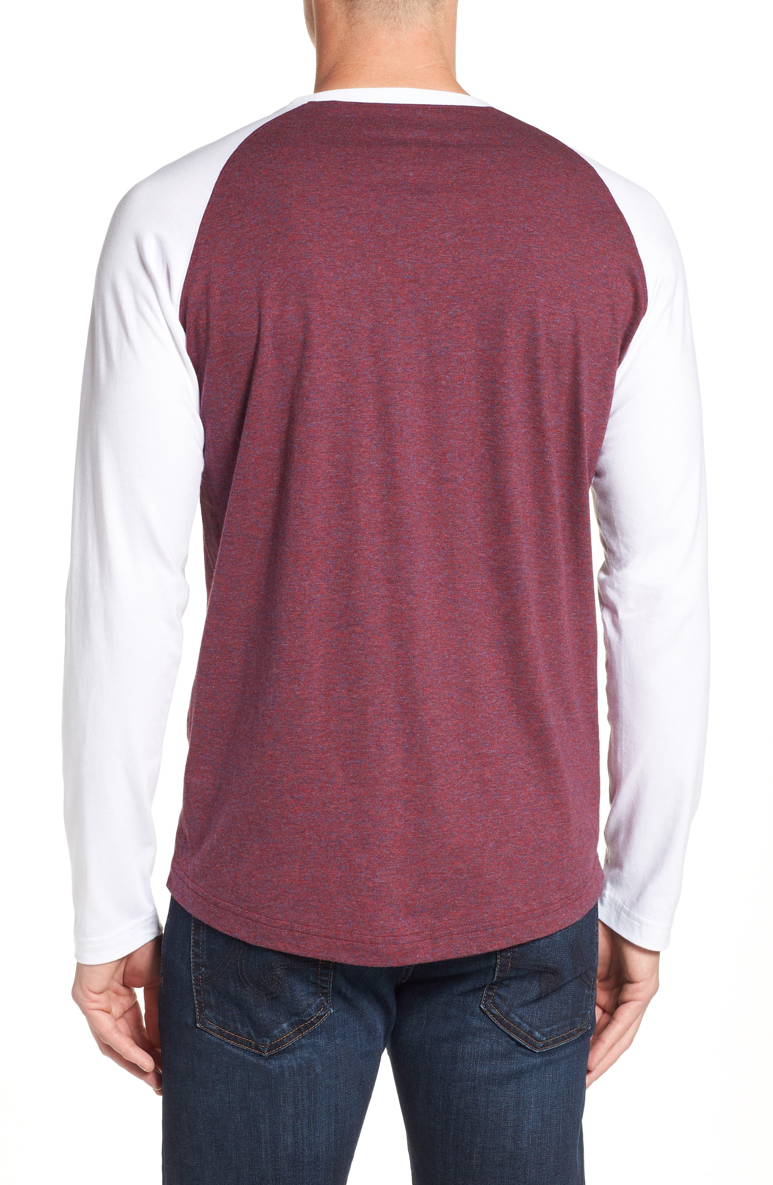 Cobb Raglan T-Shirt,                             Alternate thumbnail 2, color,                             BURGUNDY SALT PEPPER