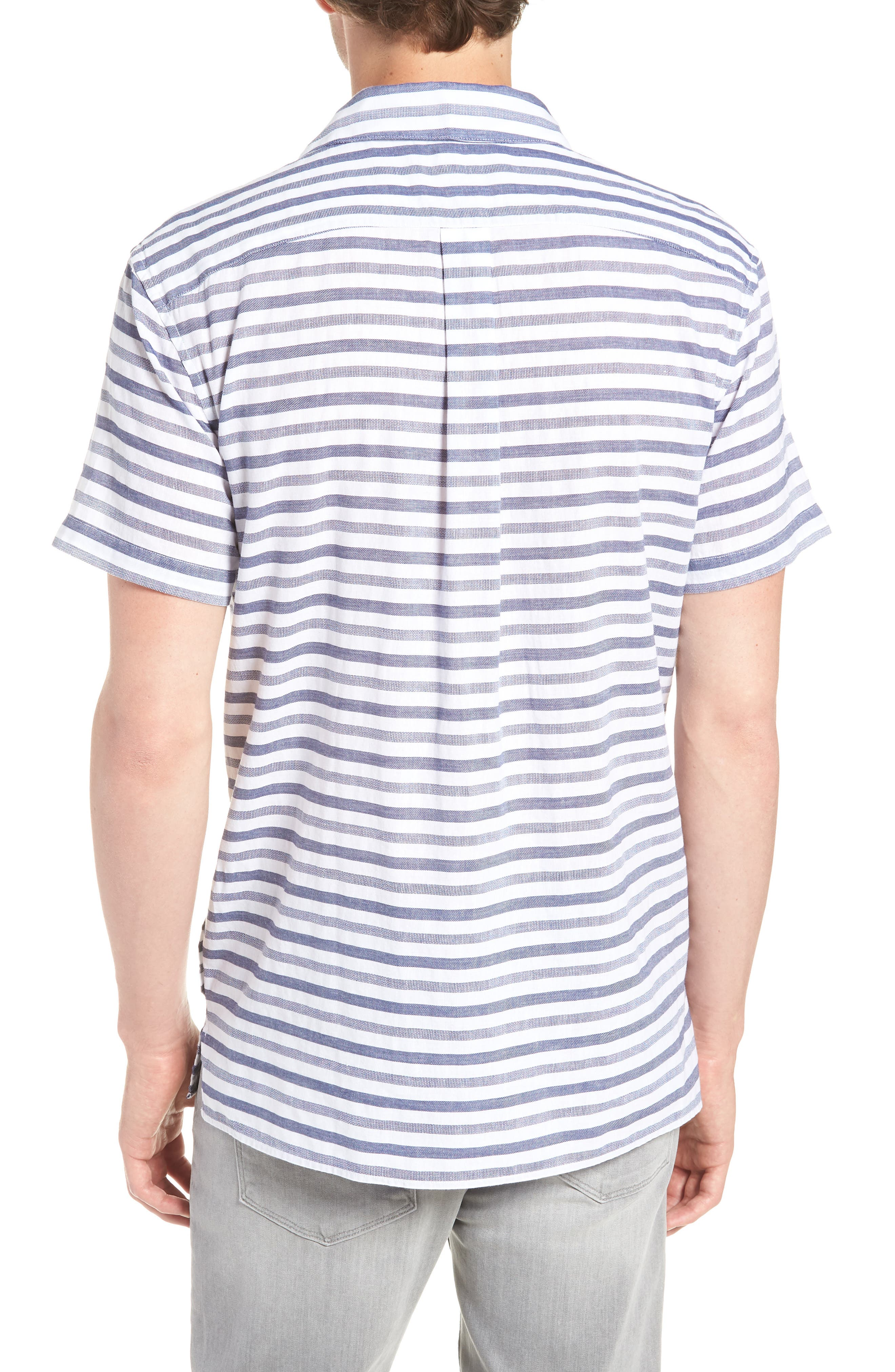 Beach Slim Fit Stripe Cotton & Linen Shirt,                             Alternate thumbnail 3, color,                             100
