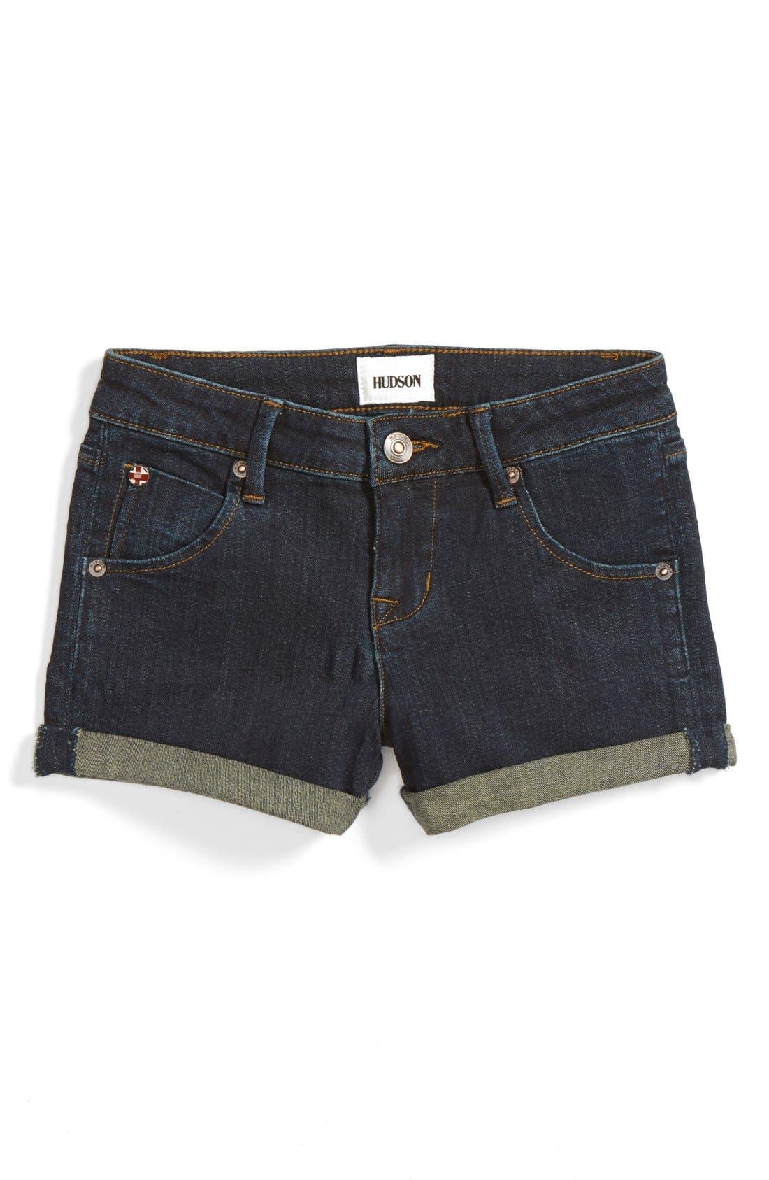 Roll Cuff Denim Shorts,                             Main thumbnail 3, color,