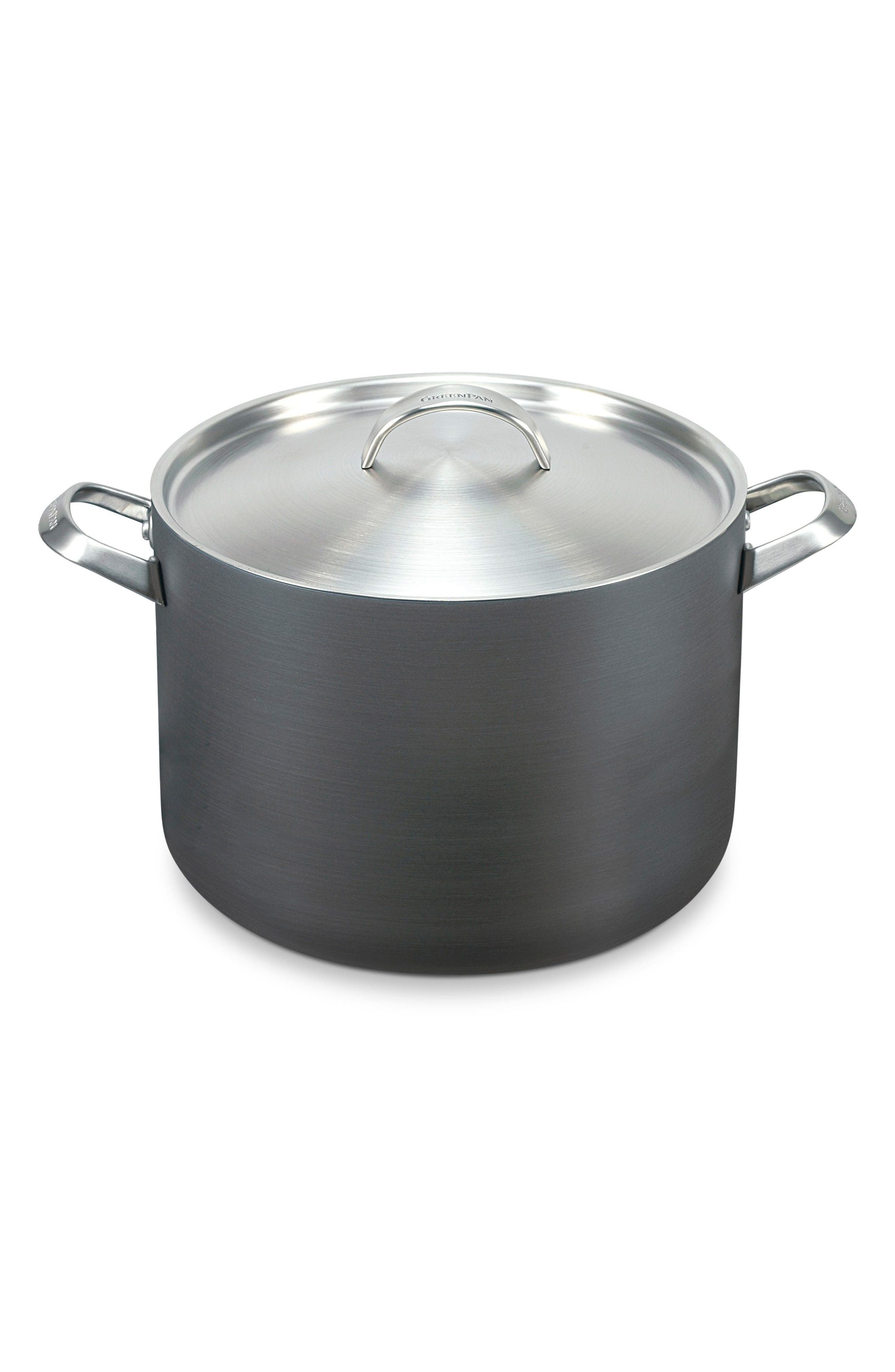 Paris 8-Quart Multilayer Stainless Steel Ceramic Nonstick Stockpot with Lid,                             Main thumbnail 1, color,                             GREY