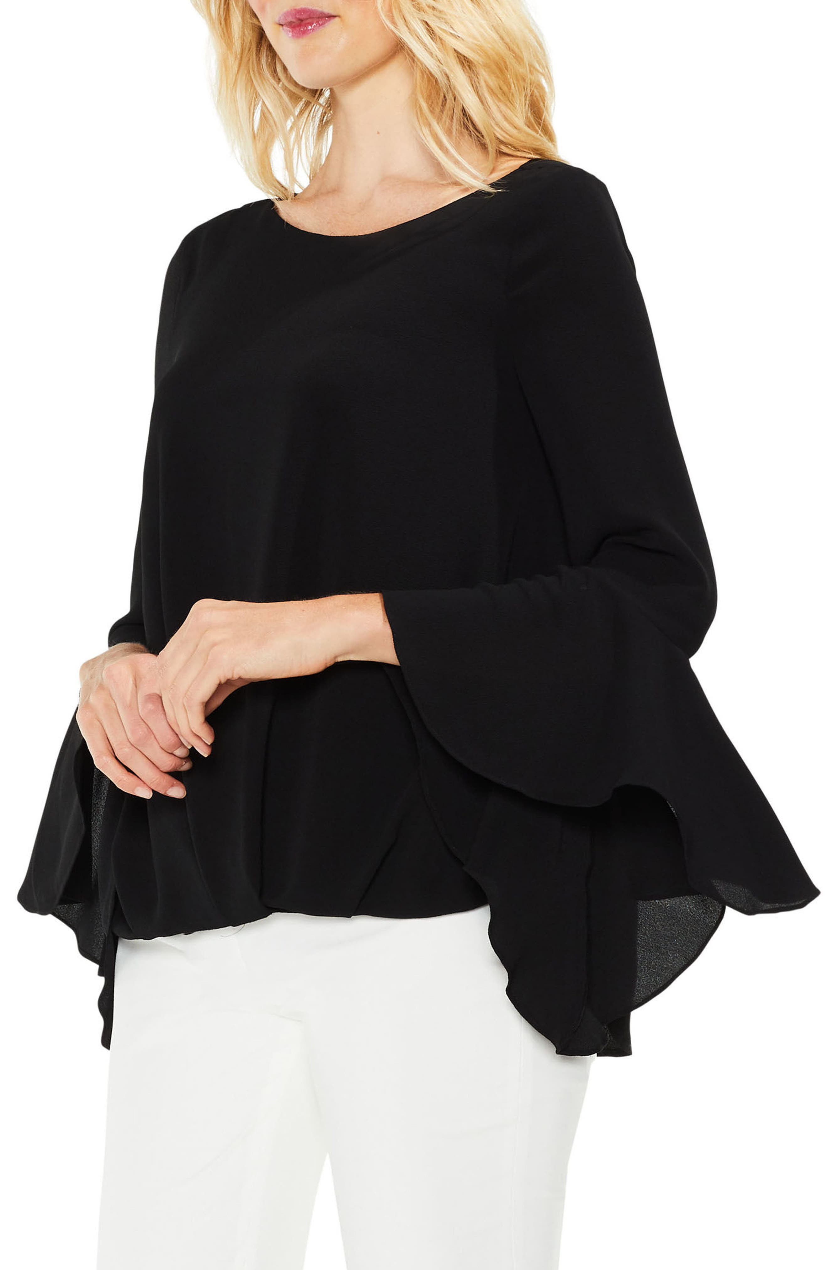 Bell Cuff Foldover Blouse,                             Main thumbnail 1, color,                             006