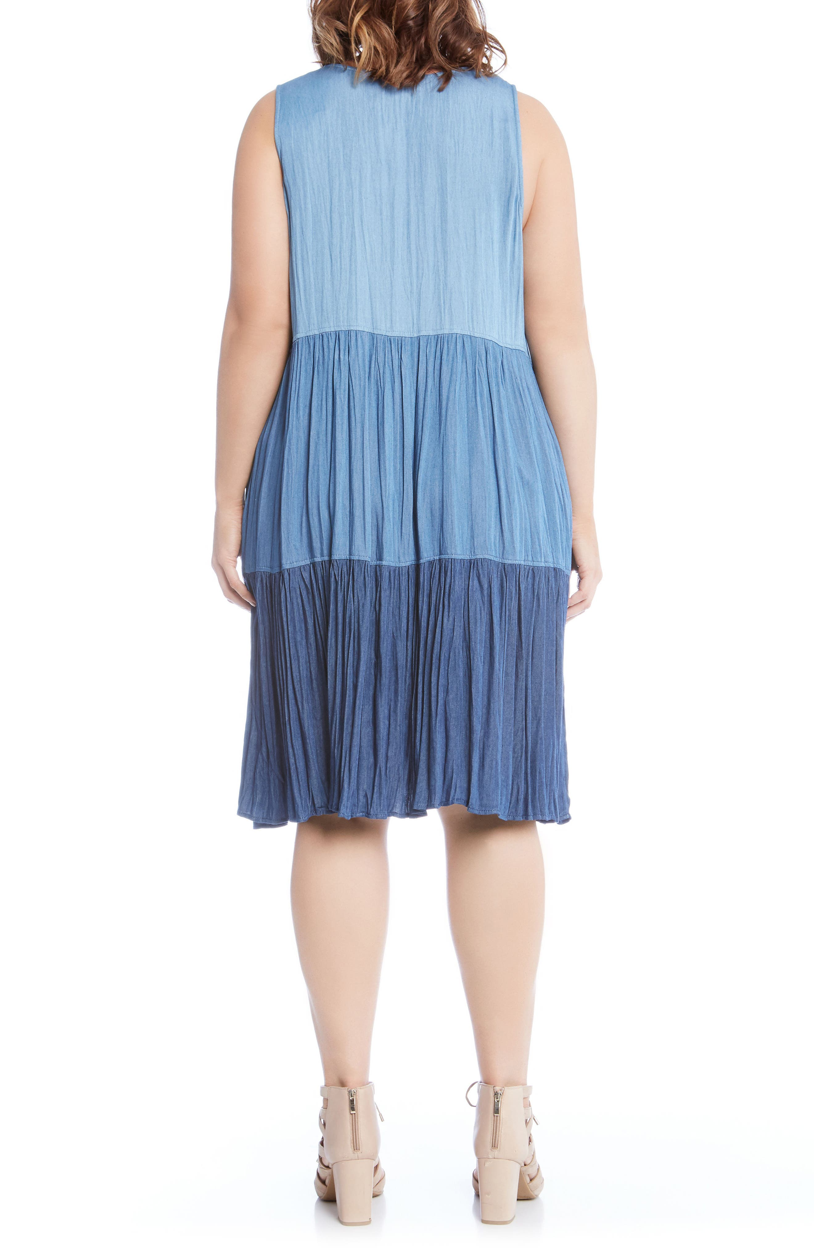 Tiered Chambray Dress,                             Alternate thumbnail 2, color,