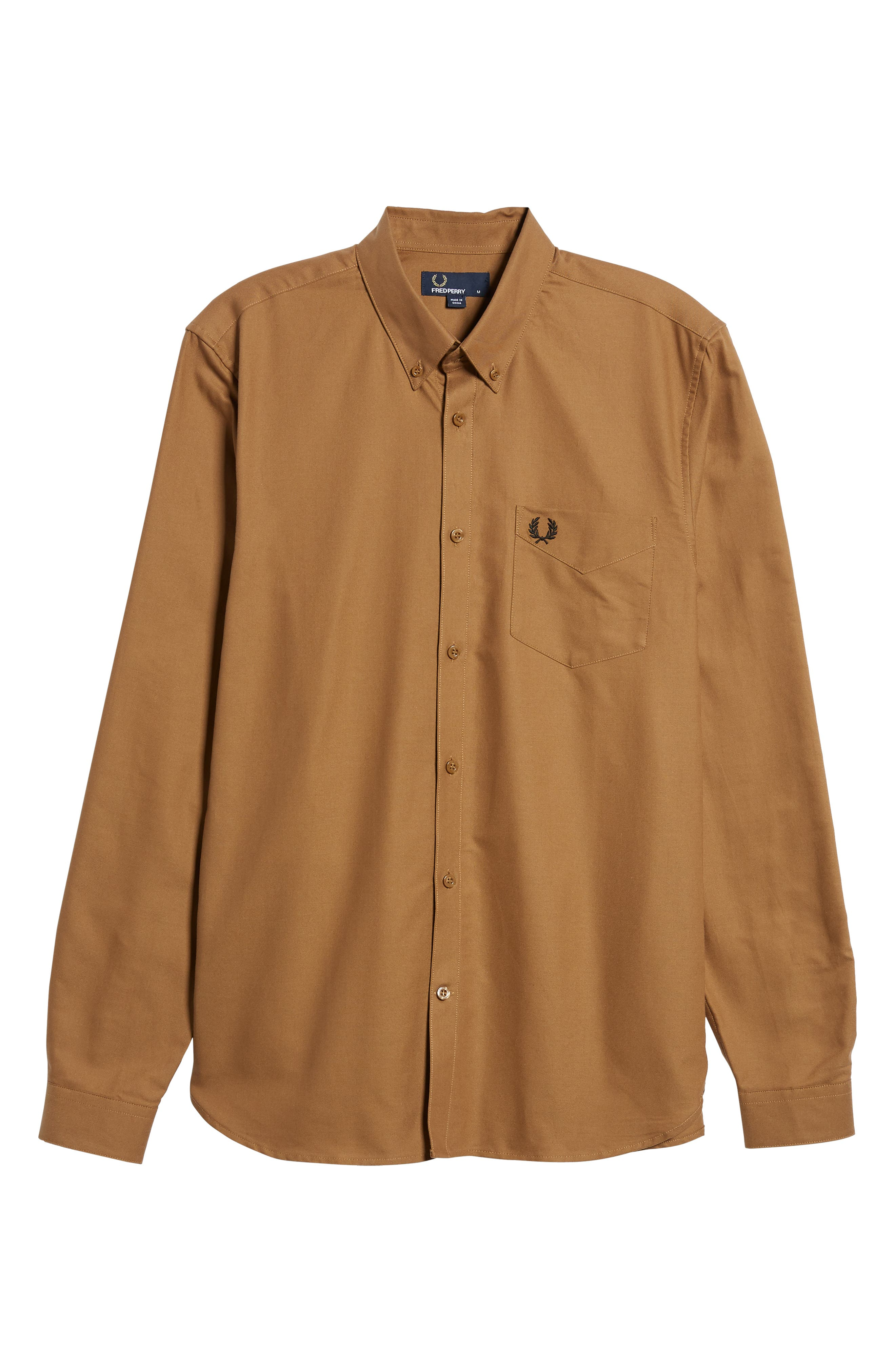 Solid Sport Shirt,                             Alternate thumbnail 5, color,                             CARAMEL