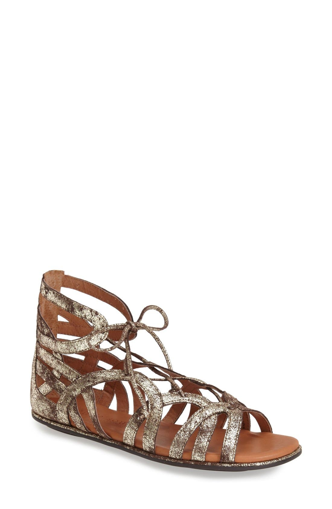 GENTLE SOULS BY KENNETH COLE,                             'Break My Heart 3' Cage Sandal,                             Main thumbnail 1, color,                             BROWN LEATHER