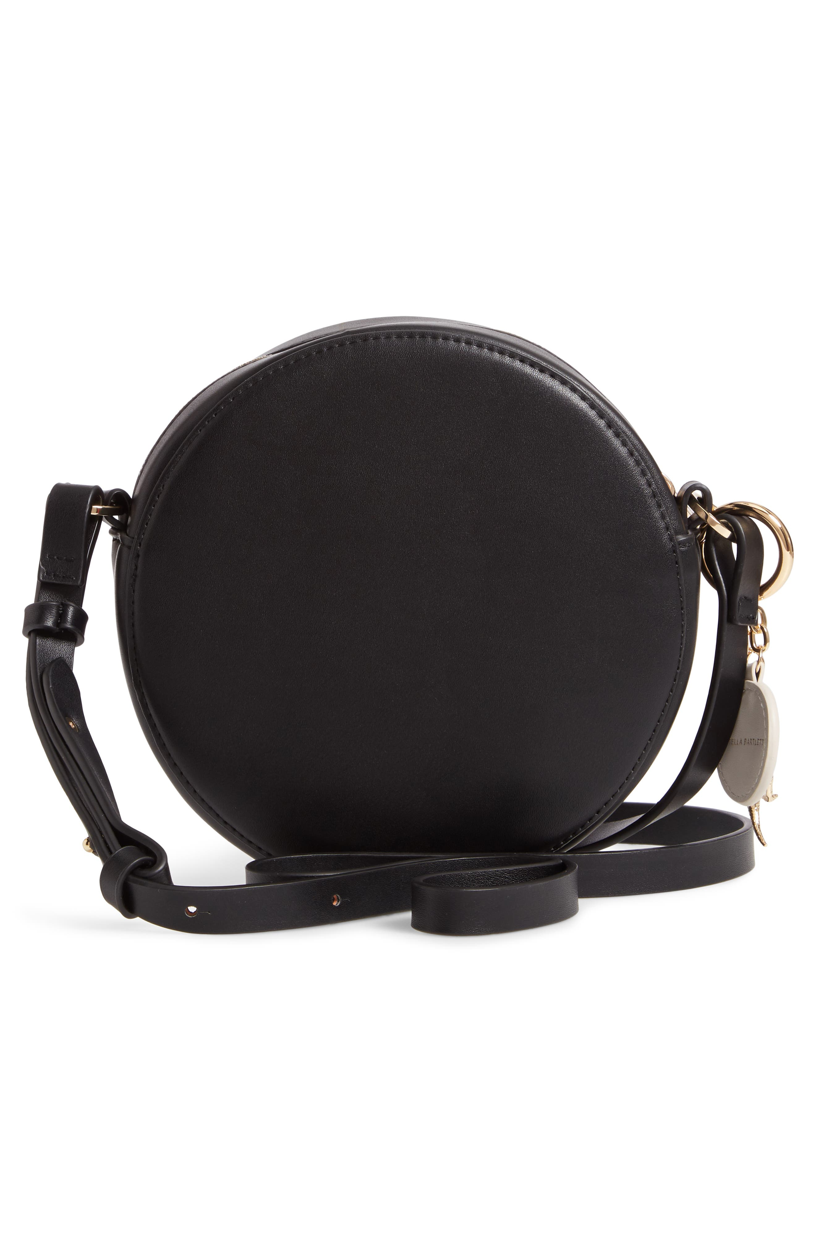 Emerson Faux Leather Round Bag,                             Alternate thumbnail 3, color,                             BLACK/ YELLOW