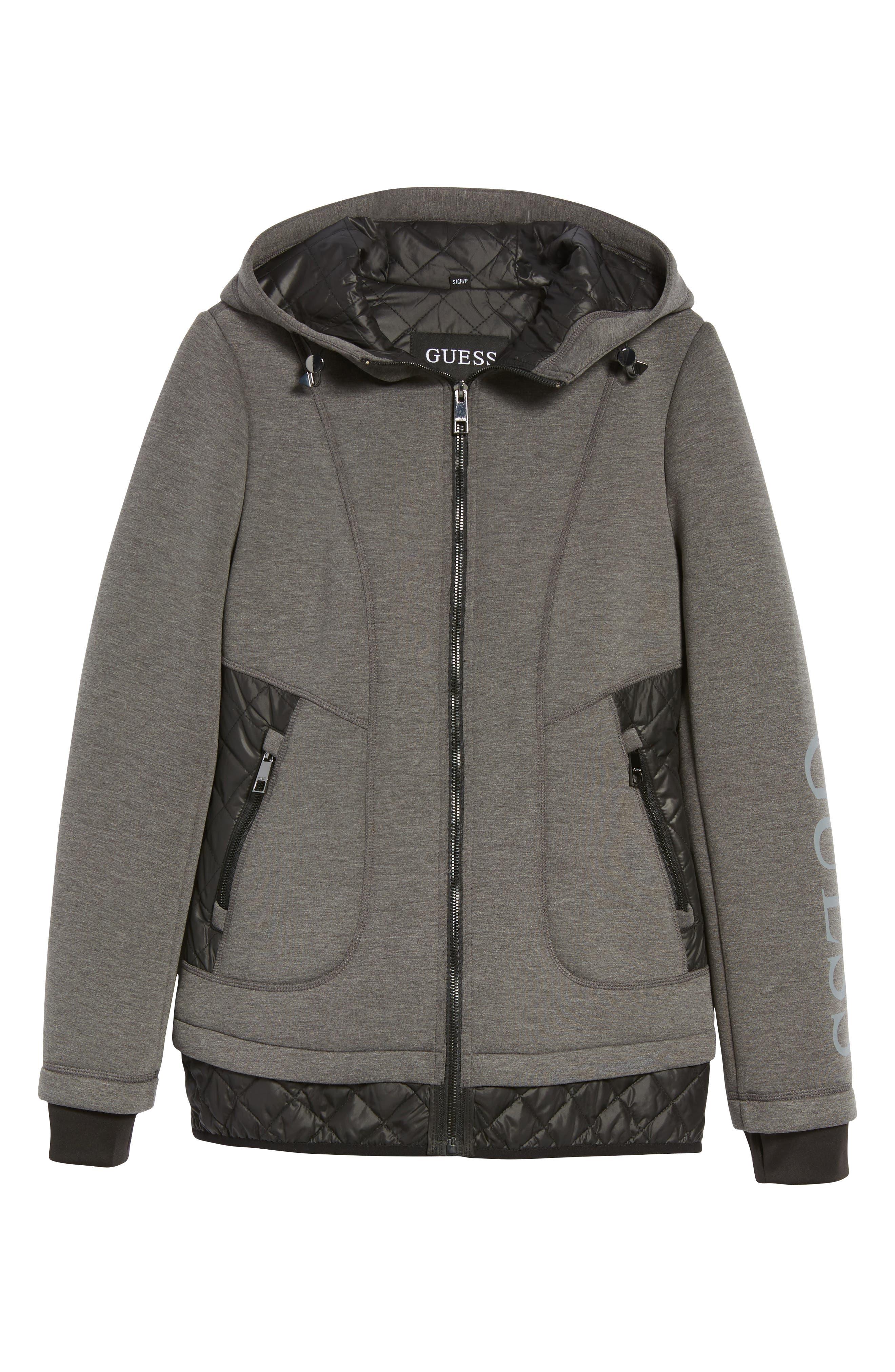 Mixed Media Hooded Jacket,                             Alternate thumbnail 5, color,                             028