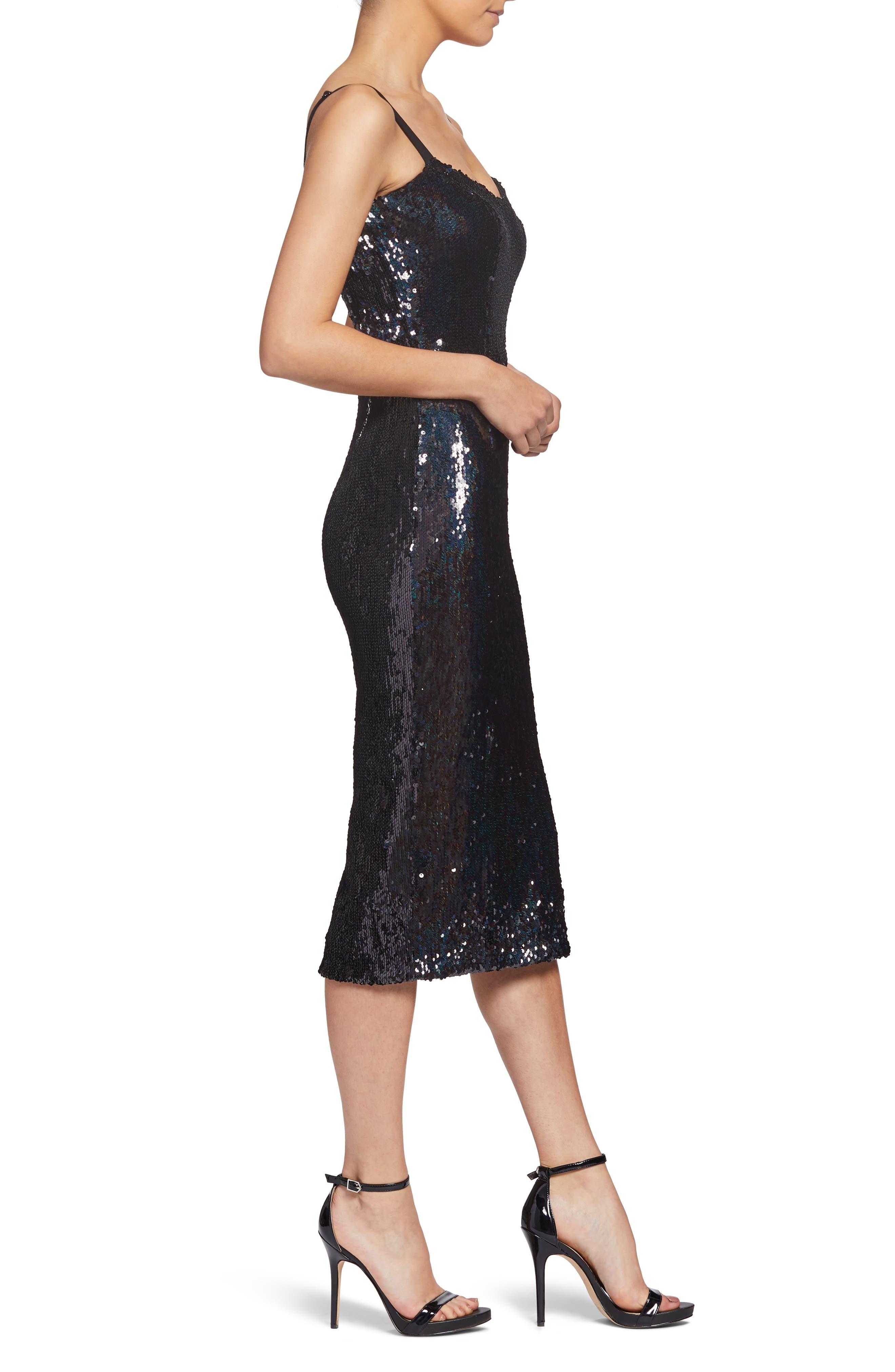 Lynda High Shine Sequin Cocktail Sheath Dress,                             Alternate thumbnail 3, color,                             BLACK PEARL
