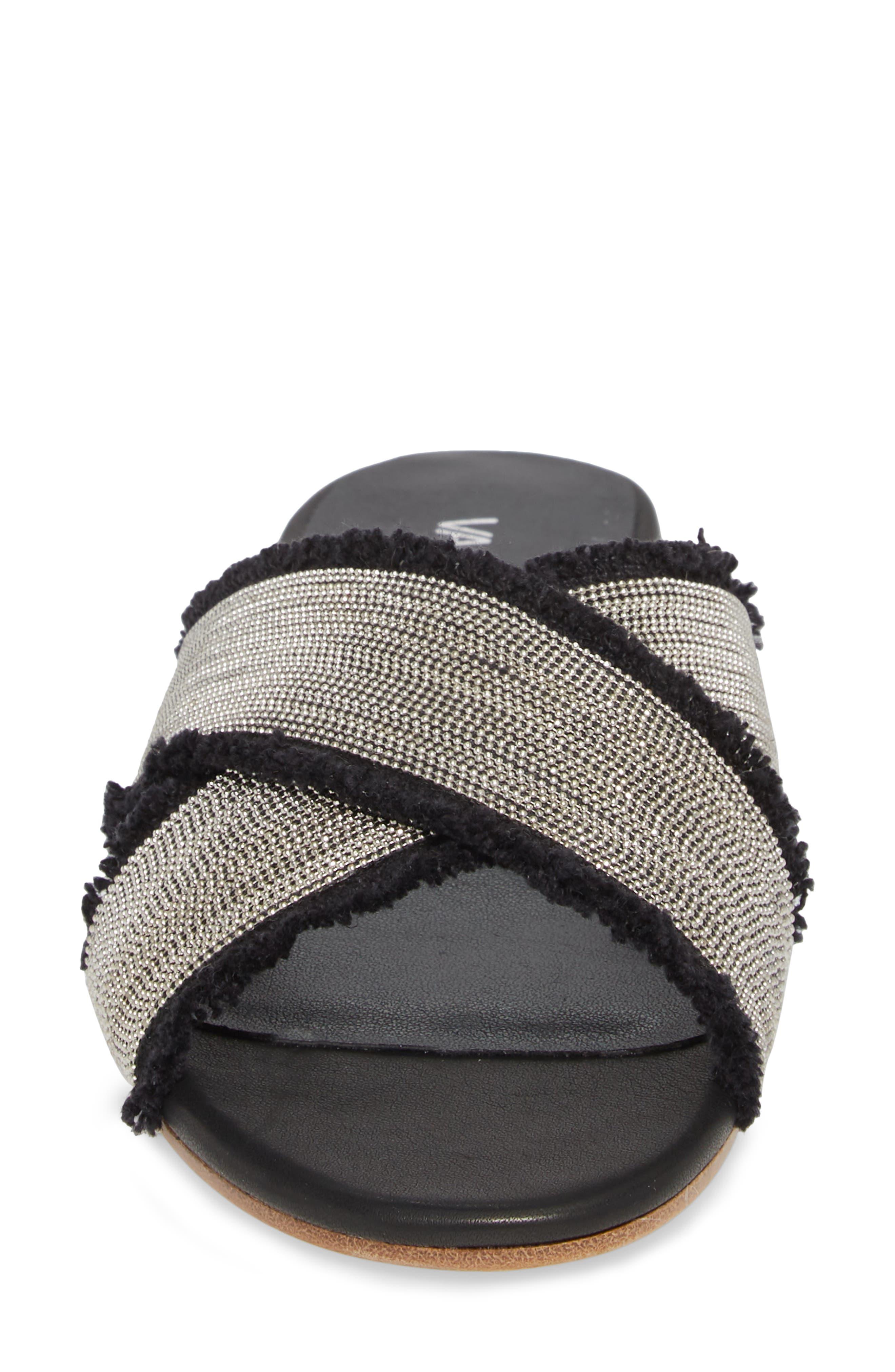 Baret Embellished Cross Strap Slide Sandal,                             Alternate thumbnail 4, color,                             BLACK FABRIC