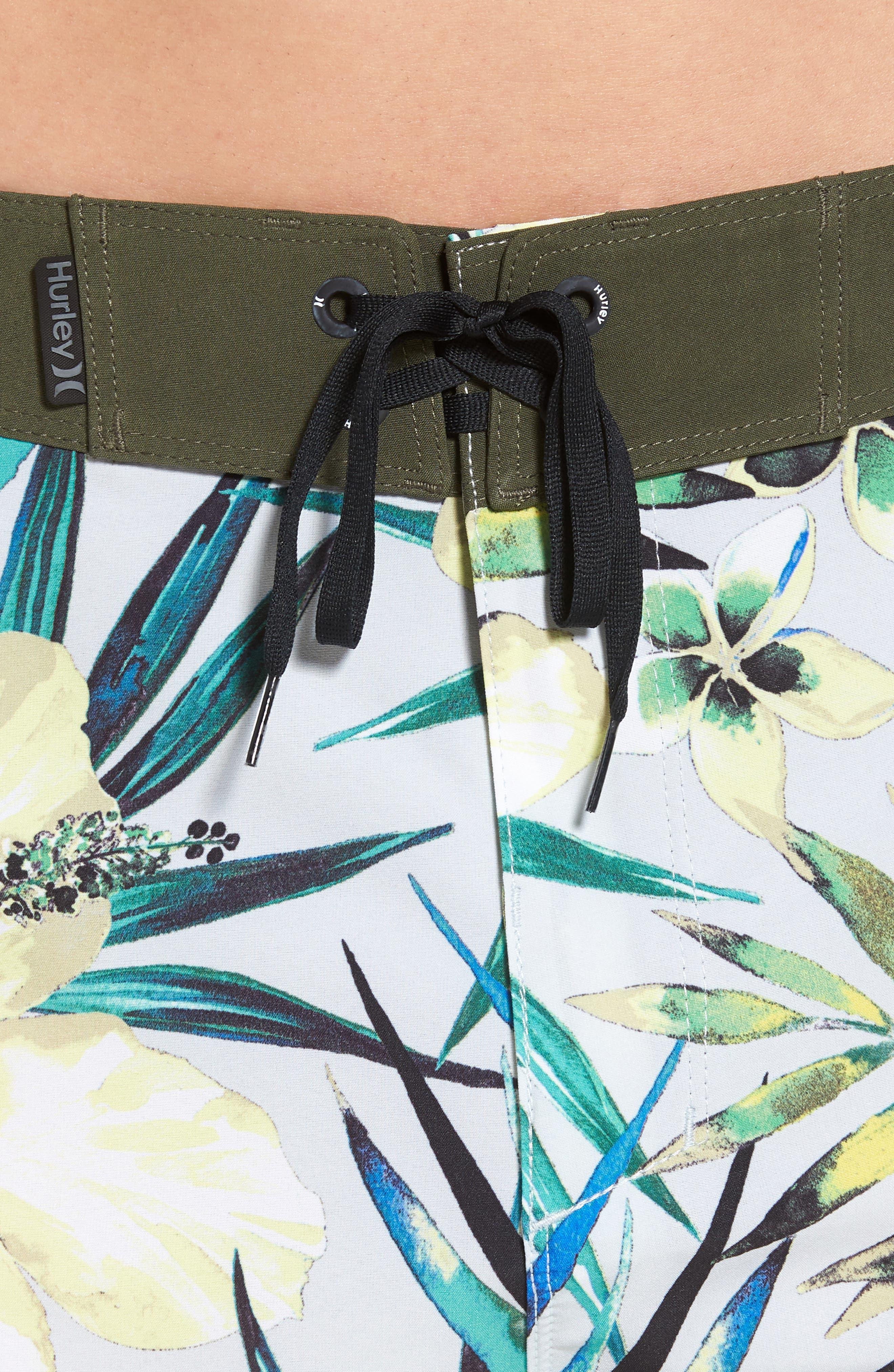 Phantom Garden Board Shorts,                             Alternate thumbnail 4, color,                             PURE PLATINUM