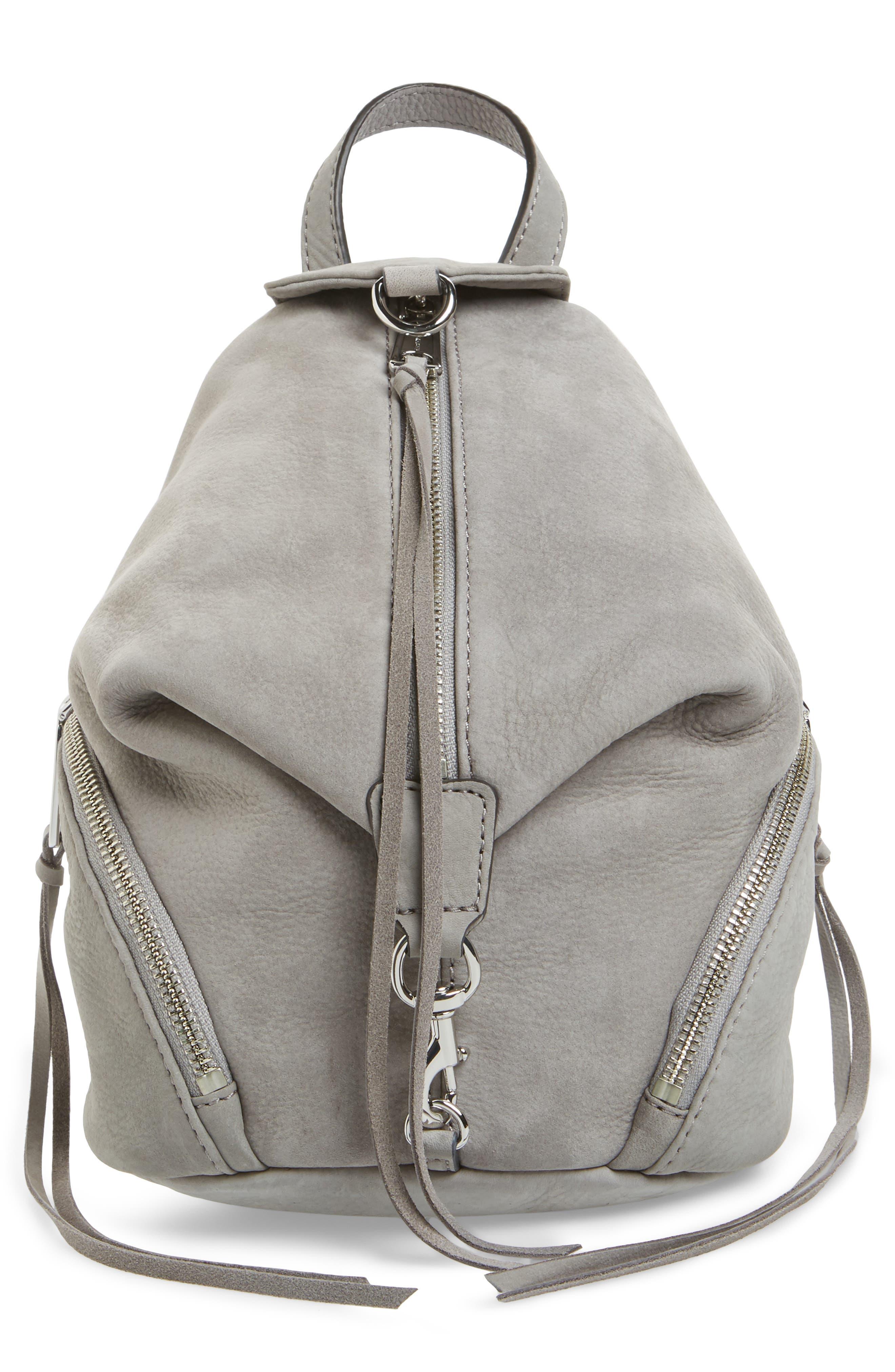 Mini Julian Nubuck Leather Convertible Backpack,                         Main,                         color, GREY