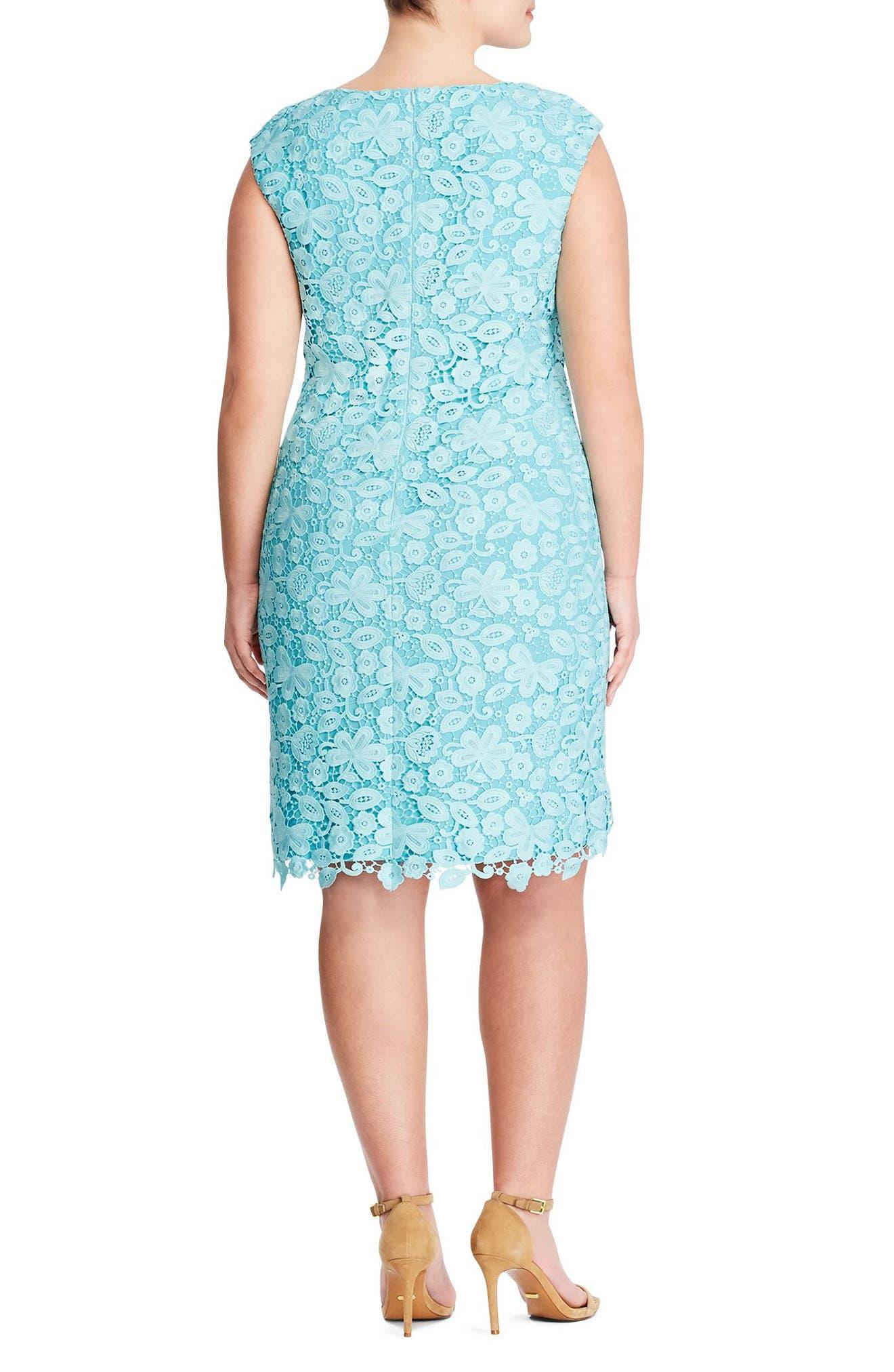 Montie Lace Sheath Dress,                             Alternate thumbnail 2, color,                             400
