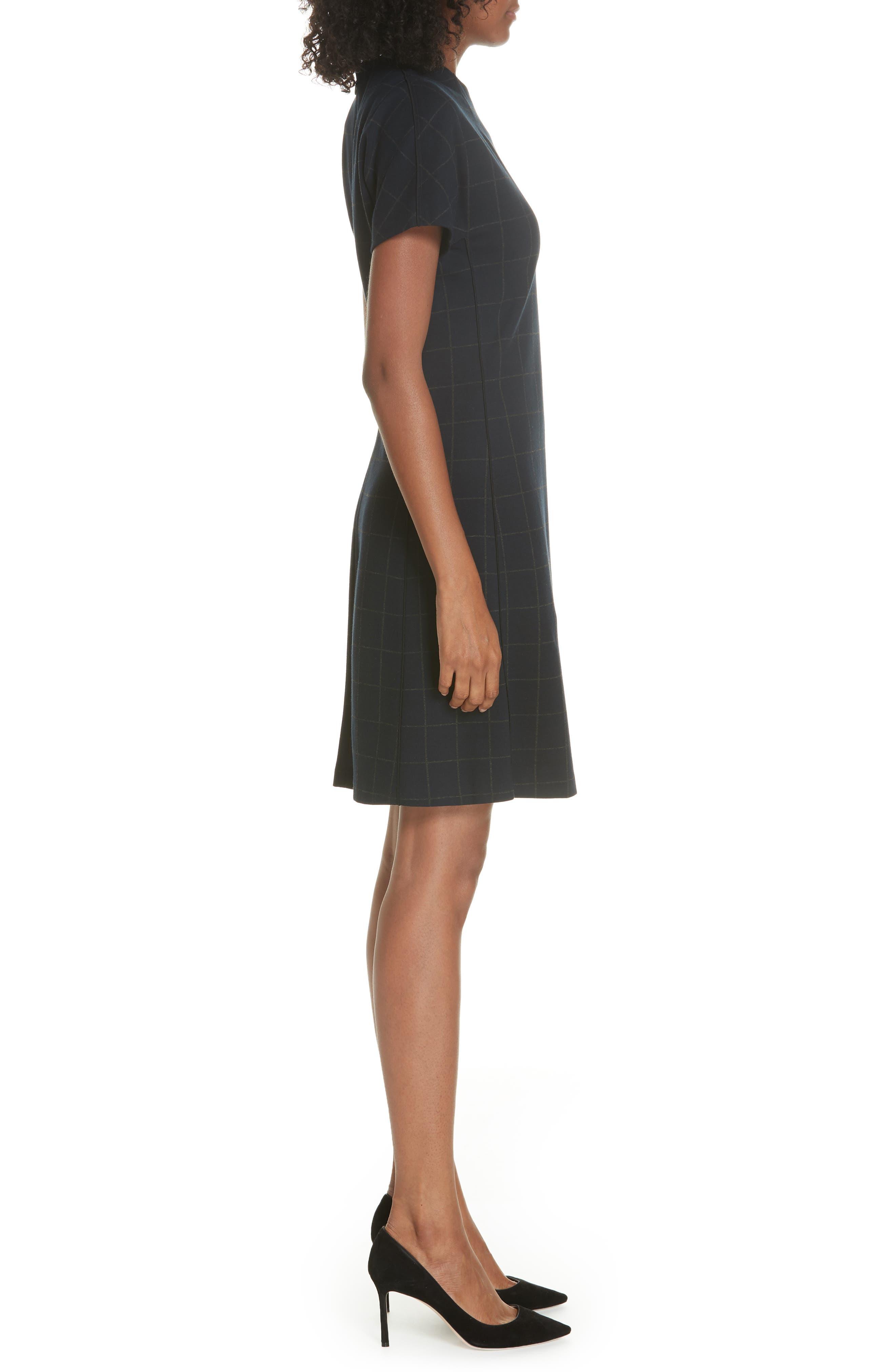 Windowpane Knit A-Line Dress,                             Alternate thumbnail 3, color,                             DEEP NAVY/ CHARCOAL MELANGE