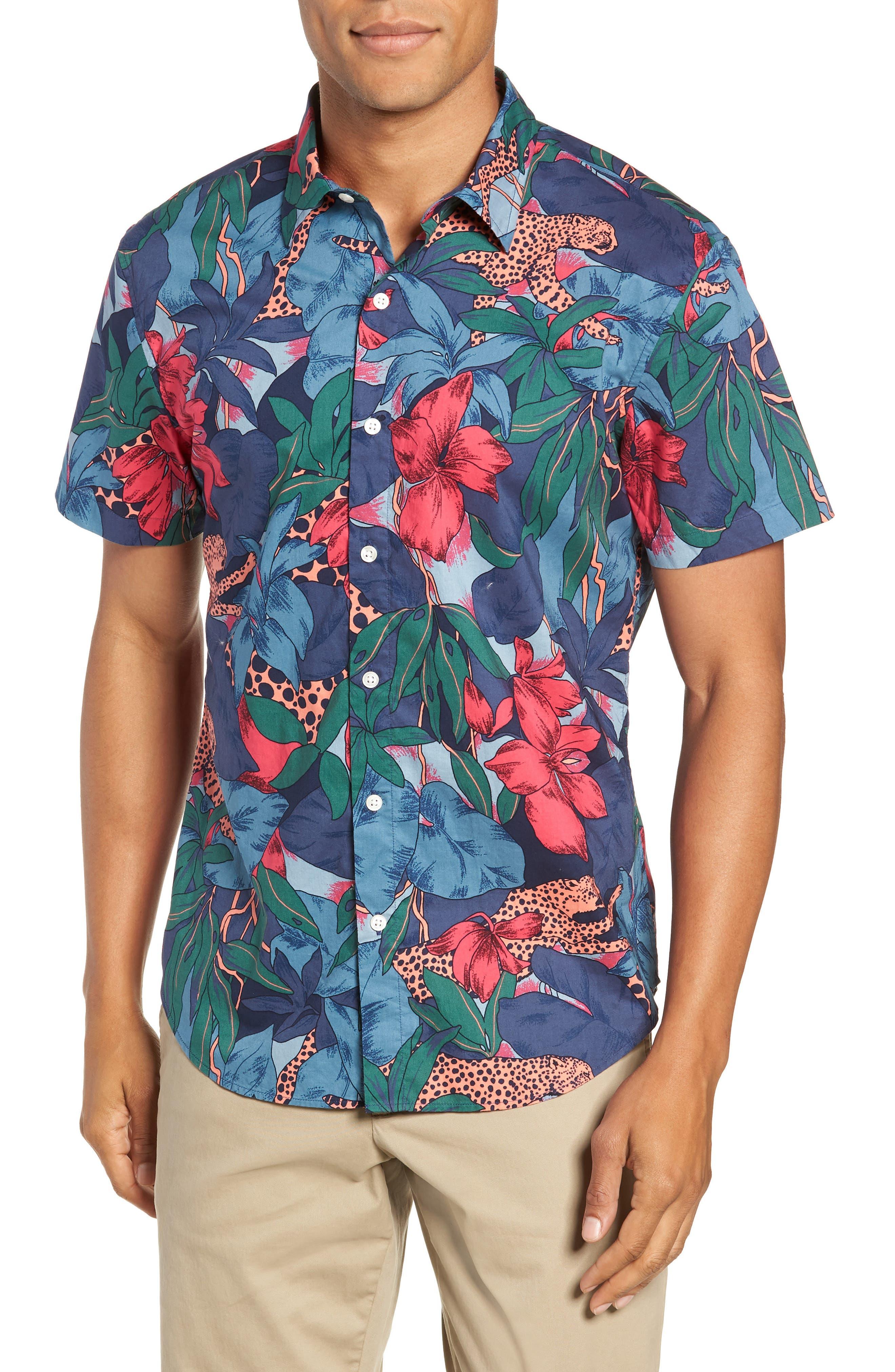 Riviera Slim Fit Leopard Floral Sport Shirt,                         Main,                         color, WILD CATS - PEACH TWIG