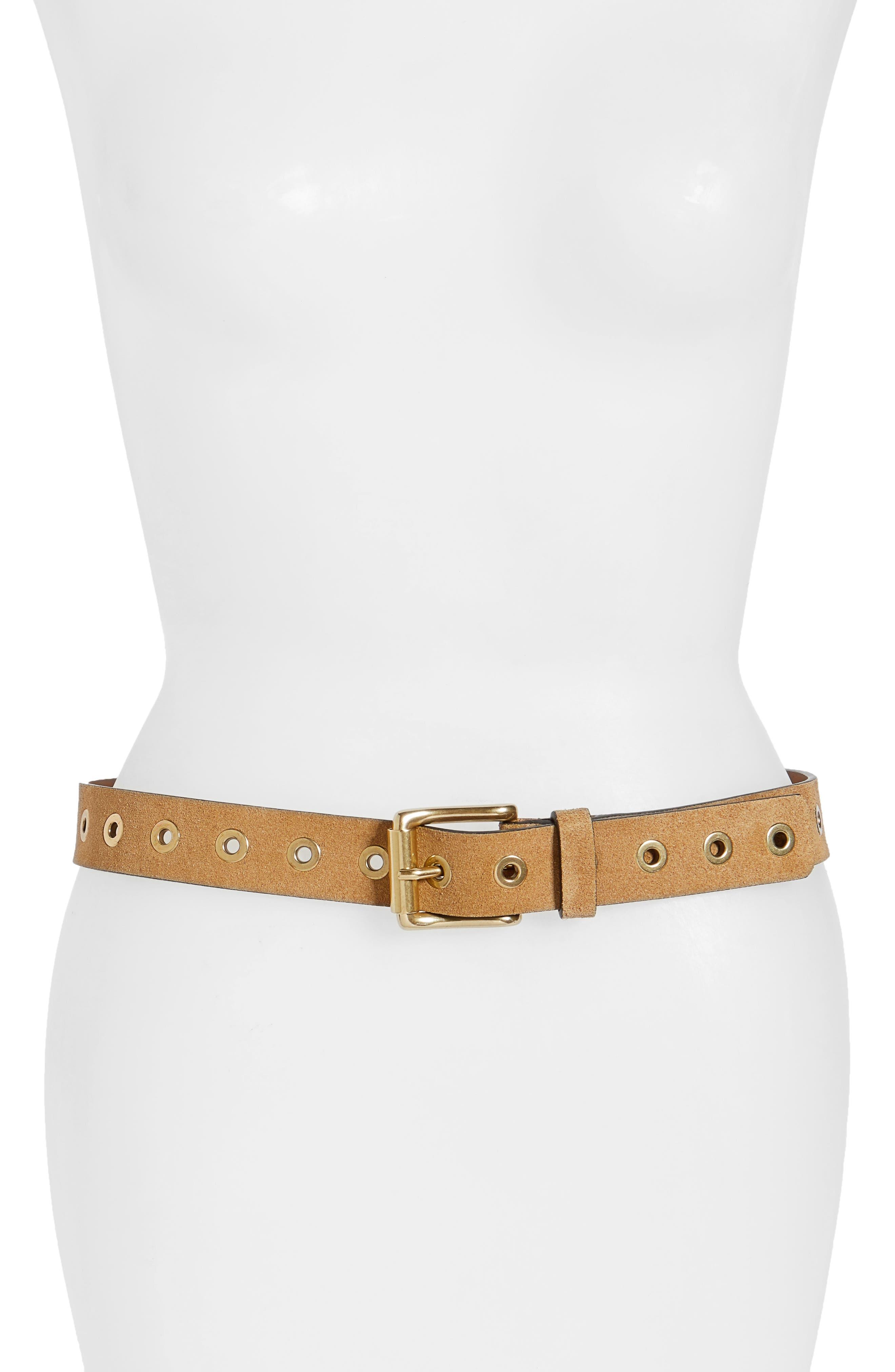 Grommet Leather Belt,                         Main,                         color,