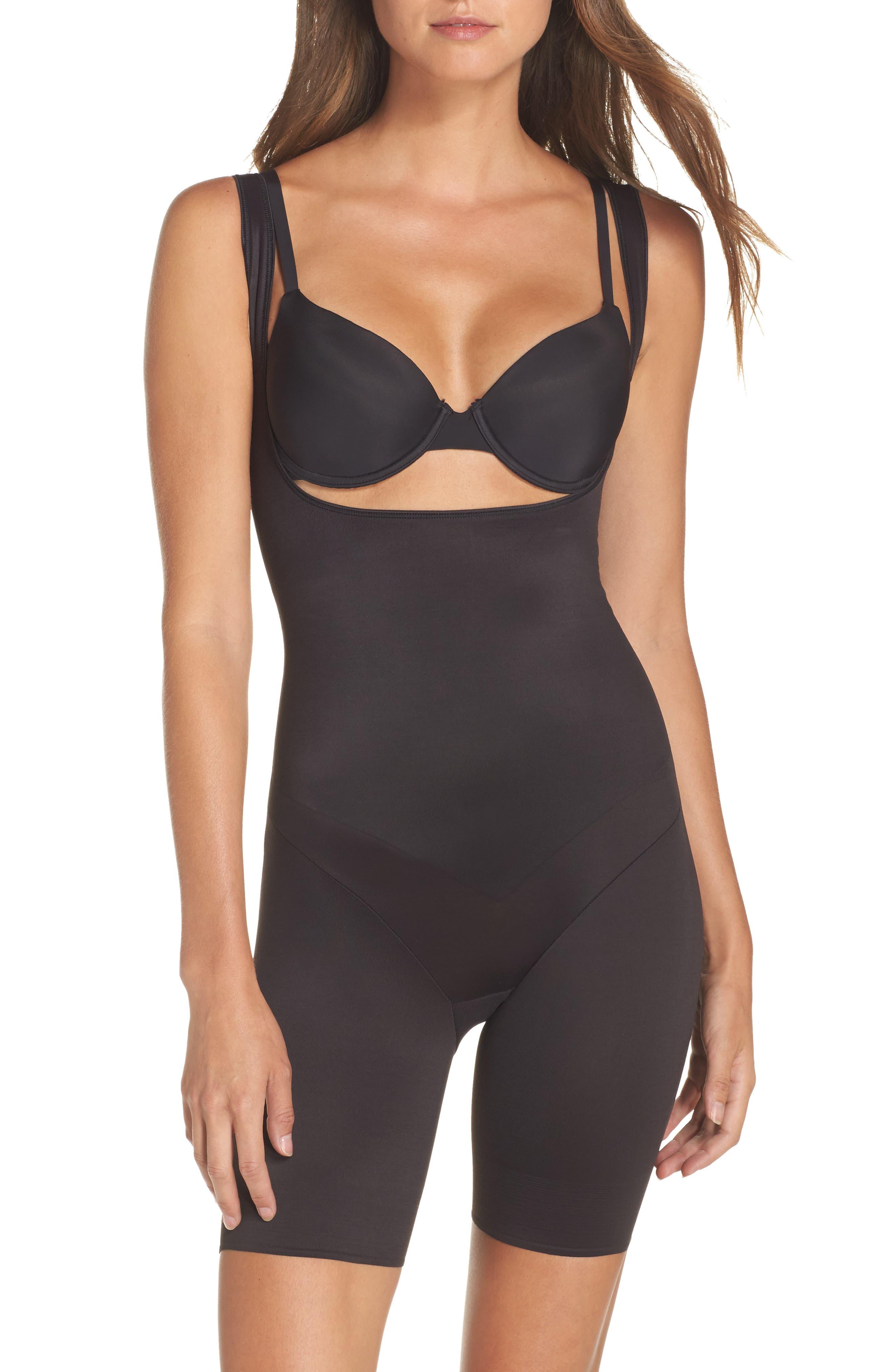 Torsette Underbust Mid Thigh Bodysuit Shaper,                             Alternate thumbnail 2, color,                             BLACK