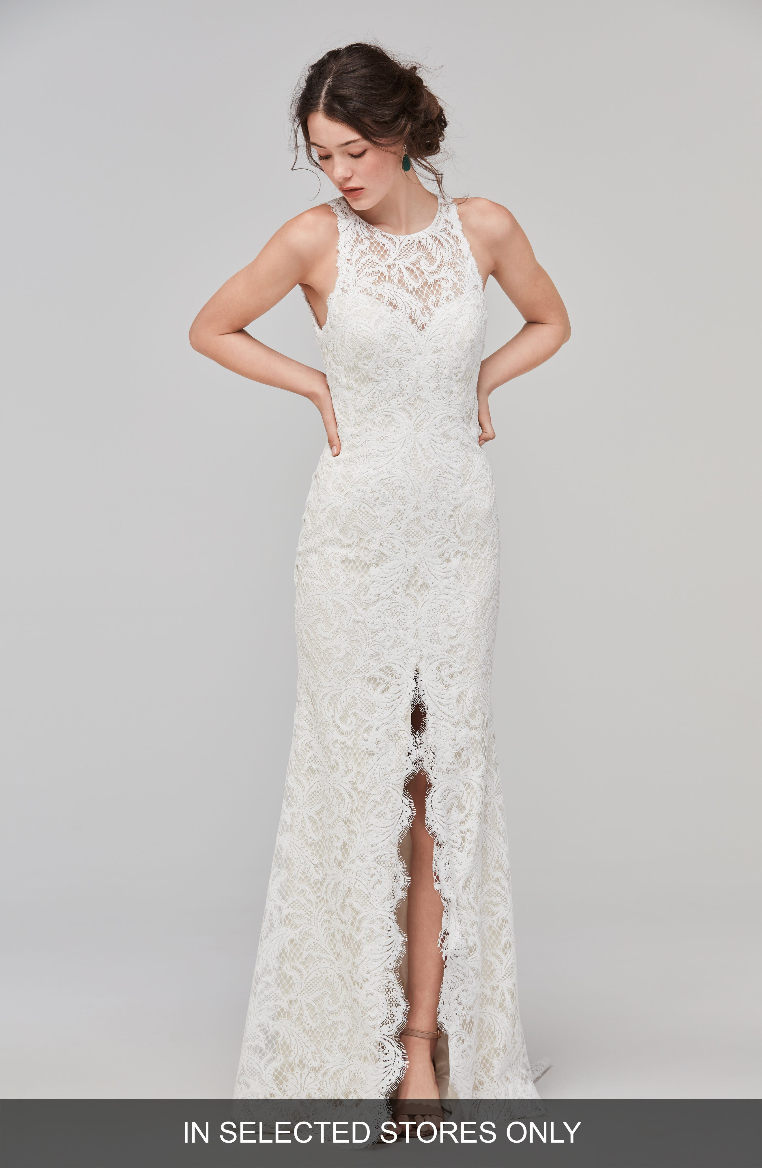Adia Sleeveless Lace A-Line Gown,                         Main,                         color, IVORY/OYSTER