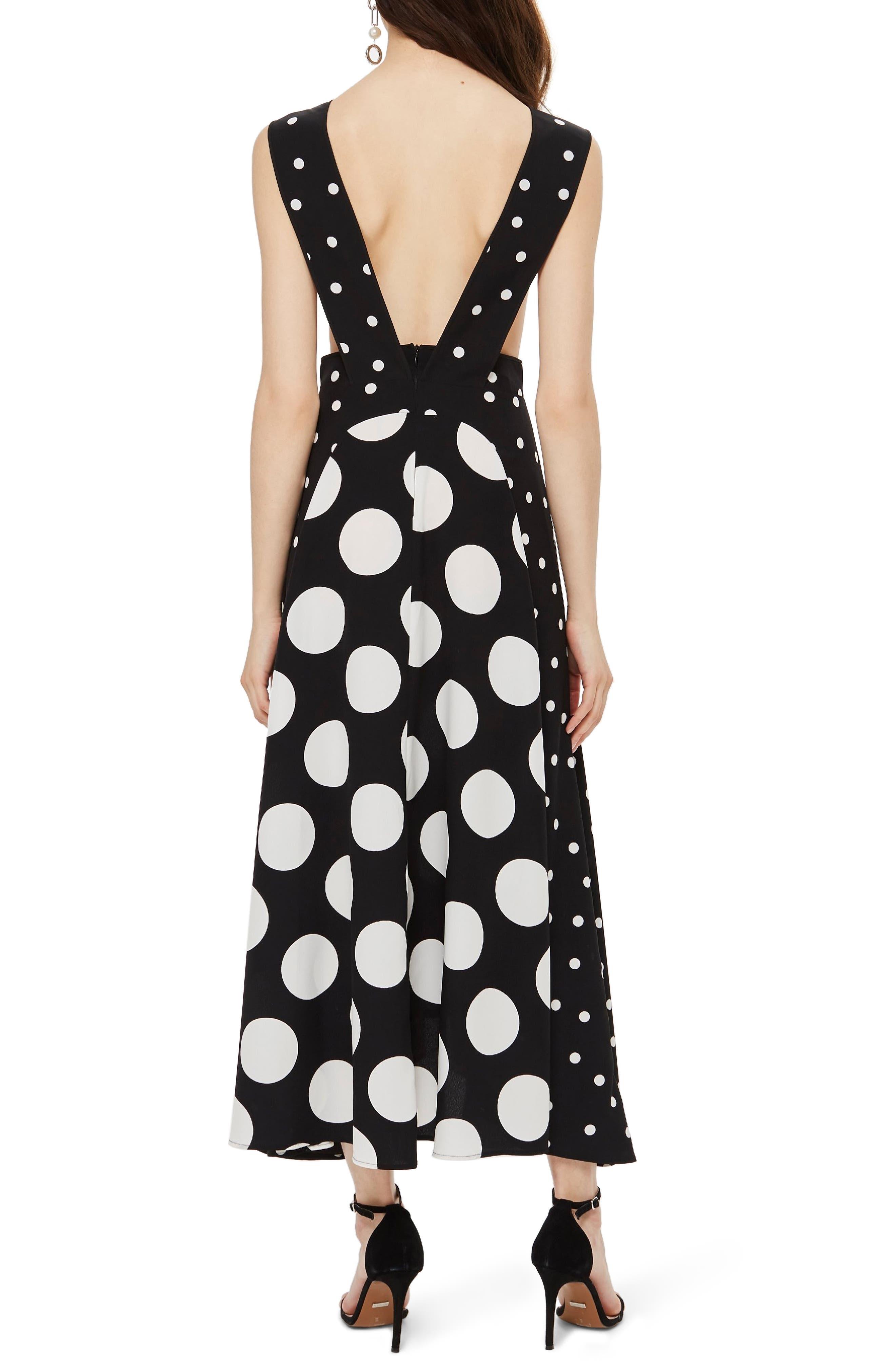 Spot Plunge Neck Midi Dress,                             Alternate thumbnail 2, color,                             BLACK/ WHITE MULTI