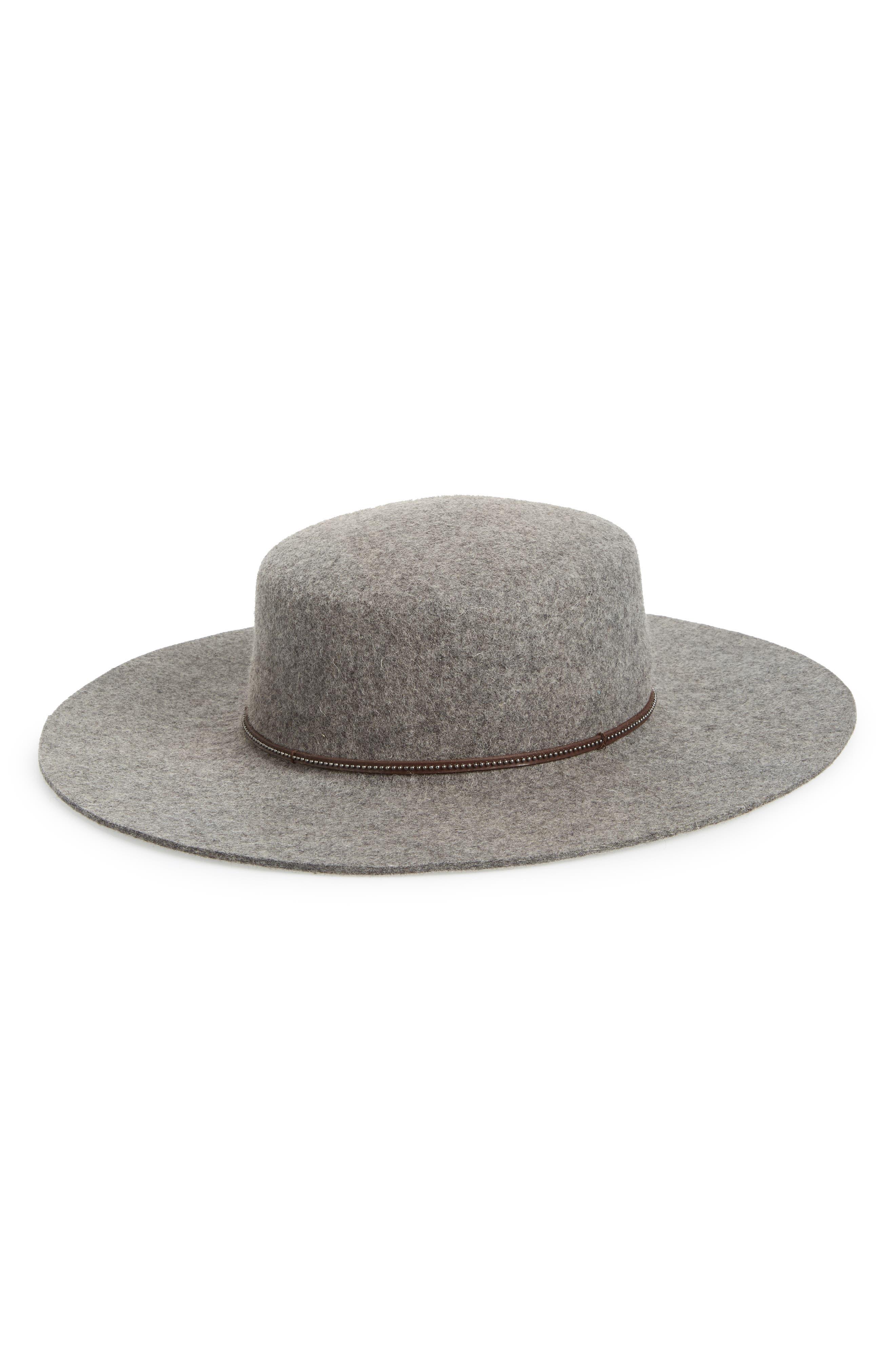 Santa Fe Belted Wool Felt Boater Hat,                         Main,                         color, GRAY
