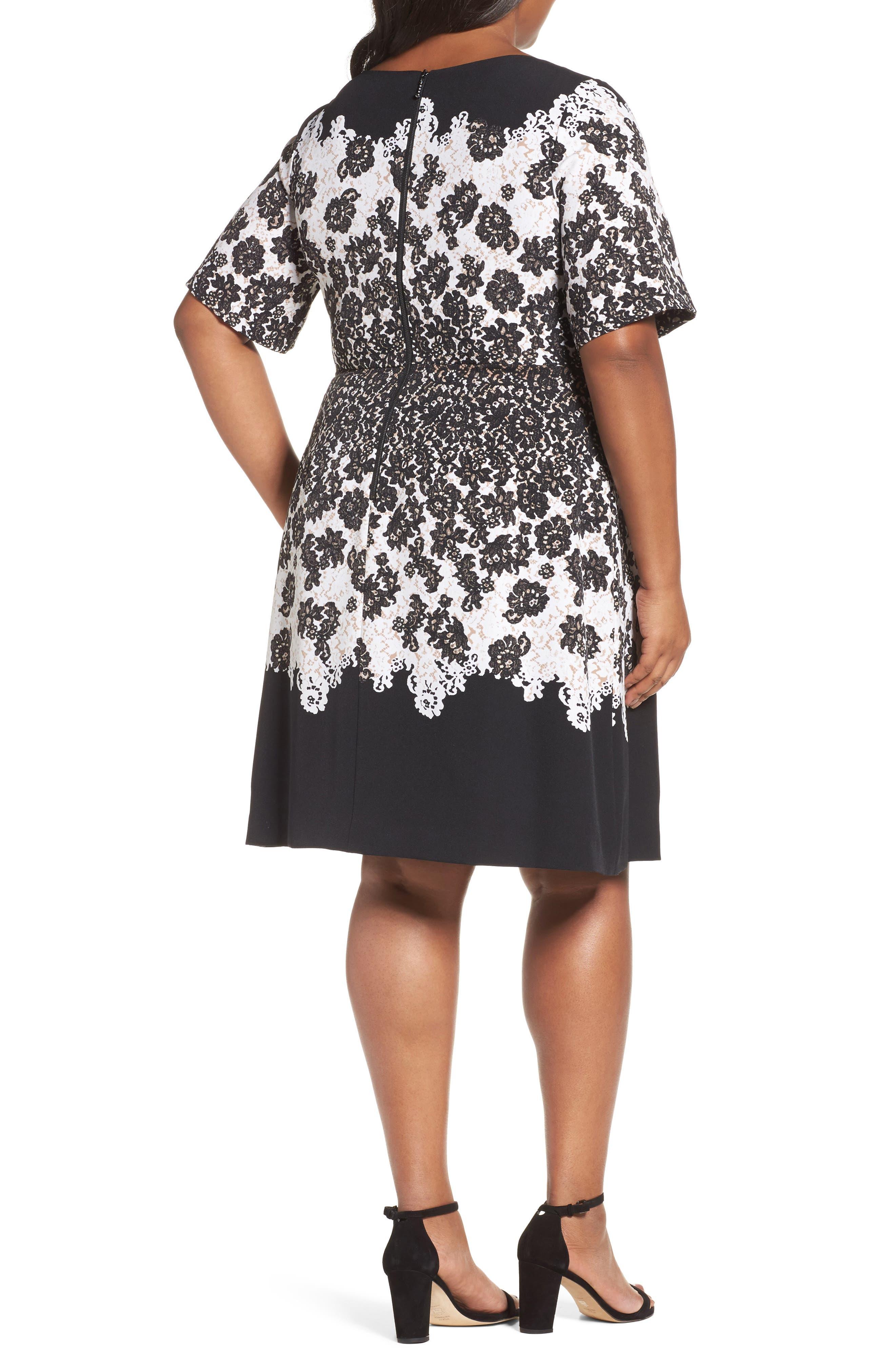 Lace Print Fit & Flare Dress,                             Alternate thumbnail 2, color,