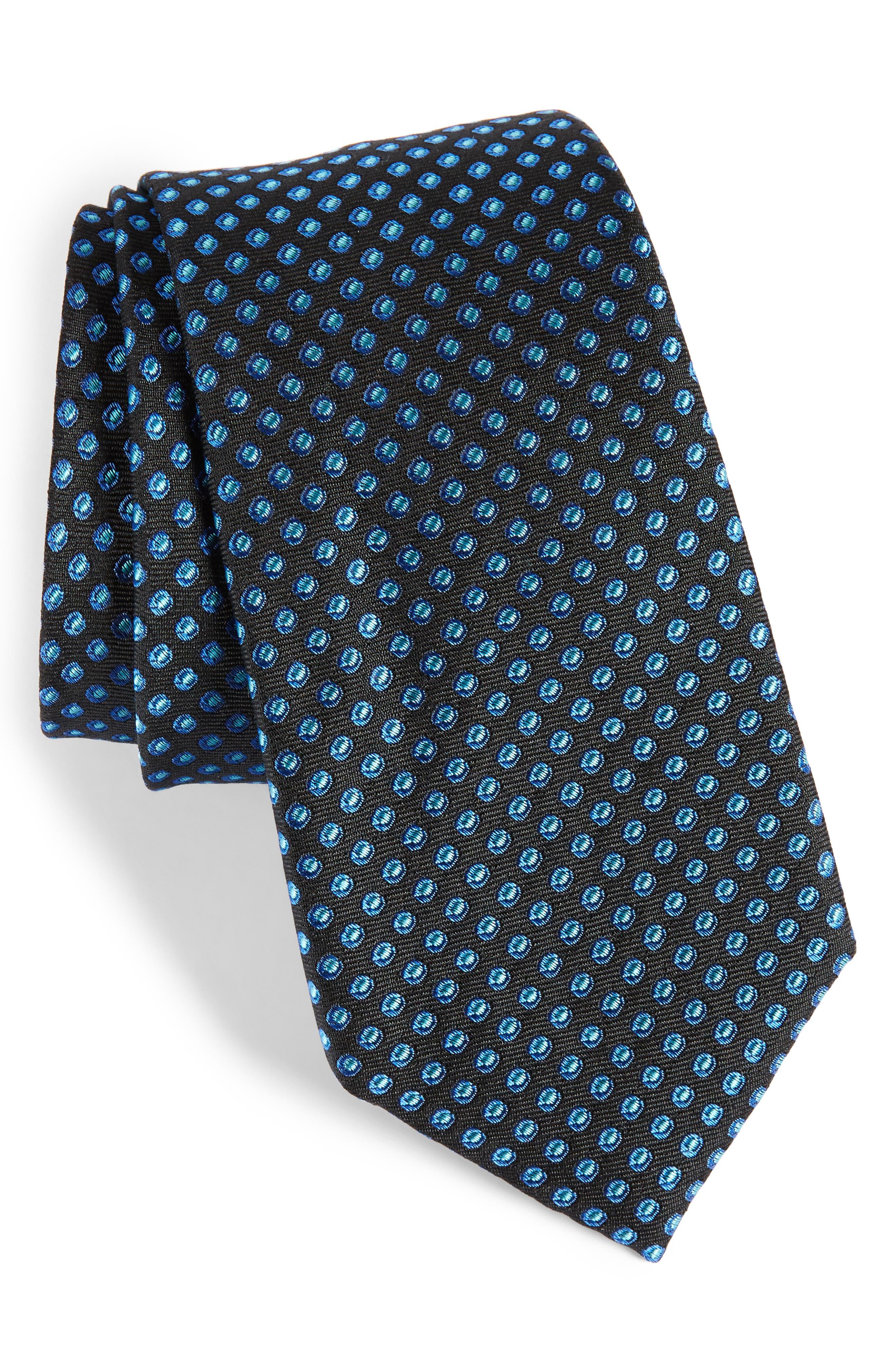 Oxford Dot Silk Tie,                         Main,                         color, 001