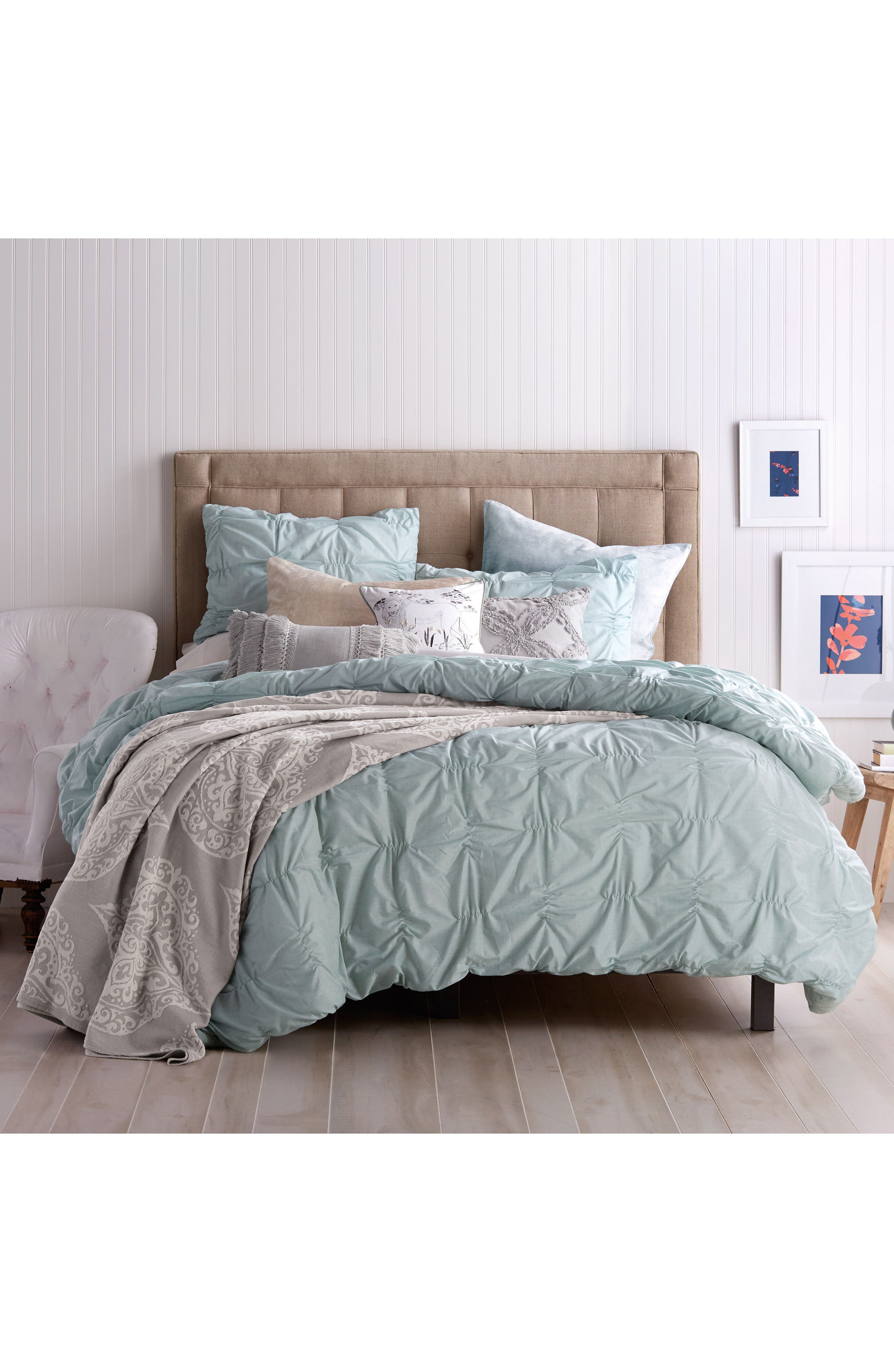 Peri Home Check Smocked Comforter  Sham Set Size FullQueen  Bluegreen