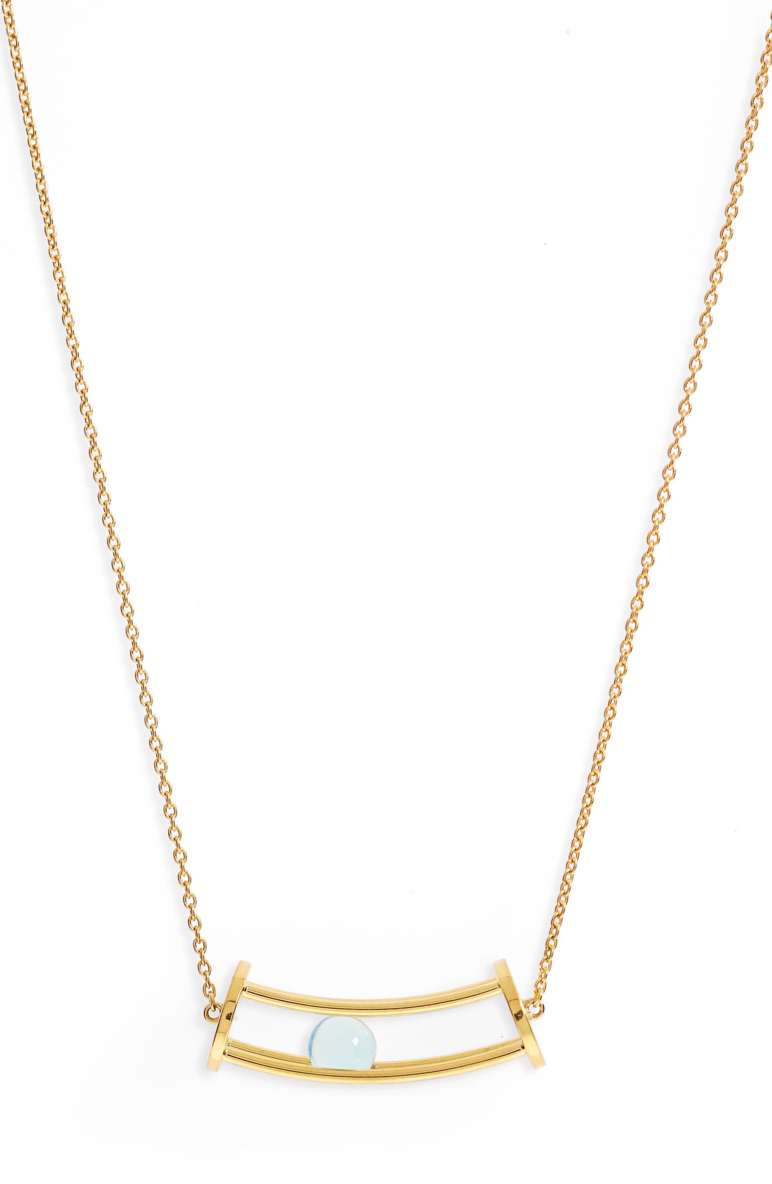 Simple Curve Blue Topaz Pendant Necklace,                         Main,                         color, 400