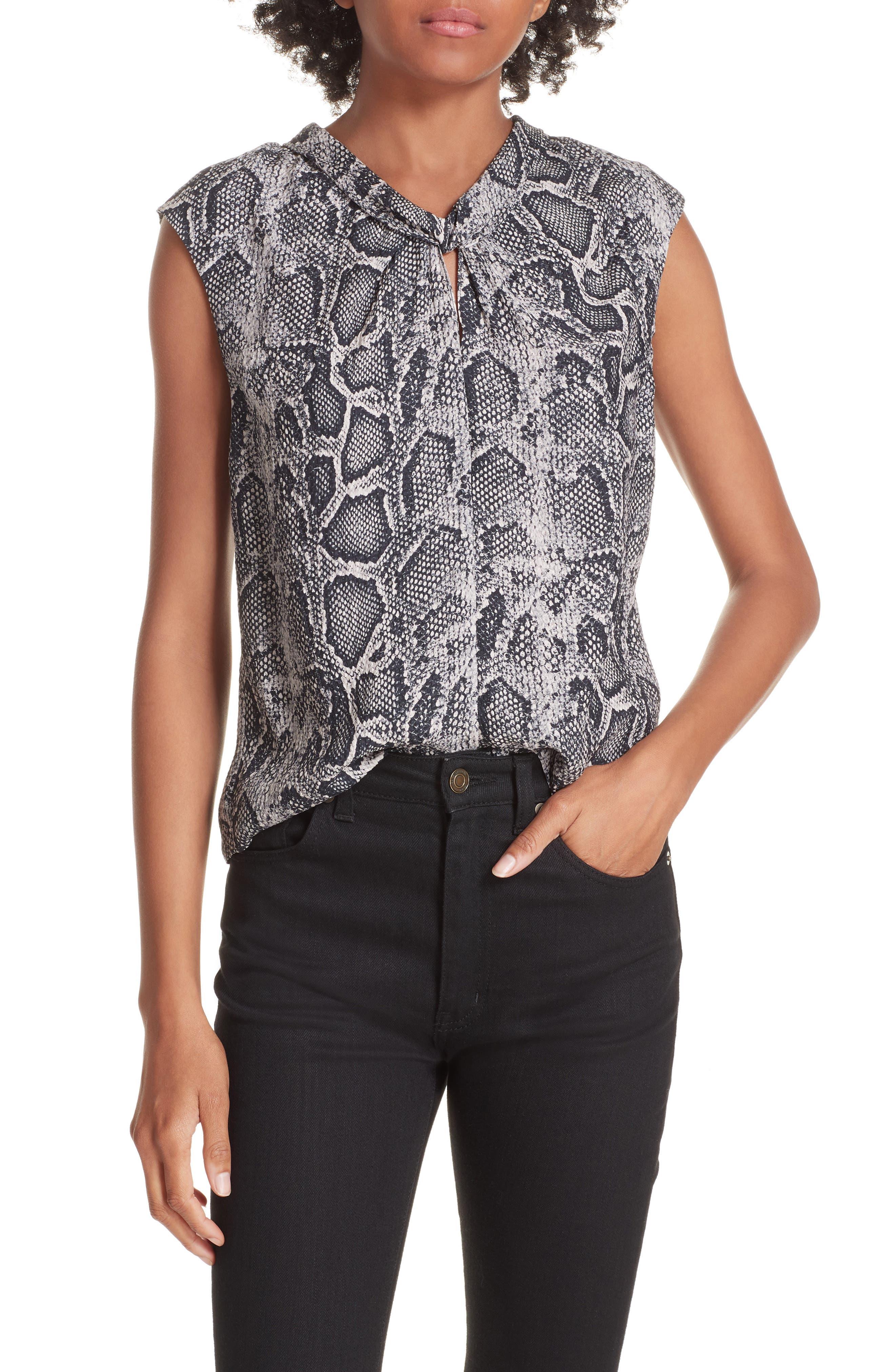 Rebecca Taylor Snakeskin Print Silk Top, Black
