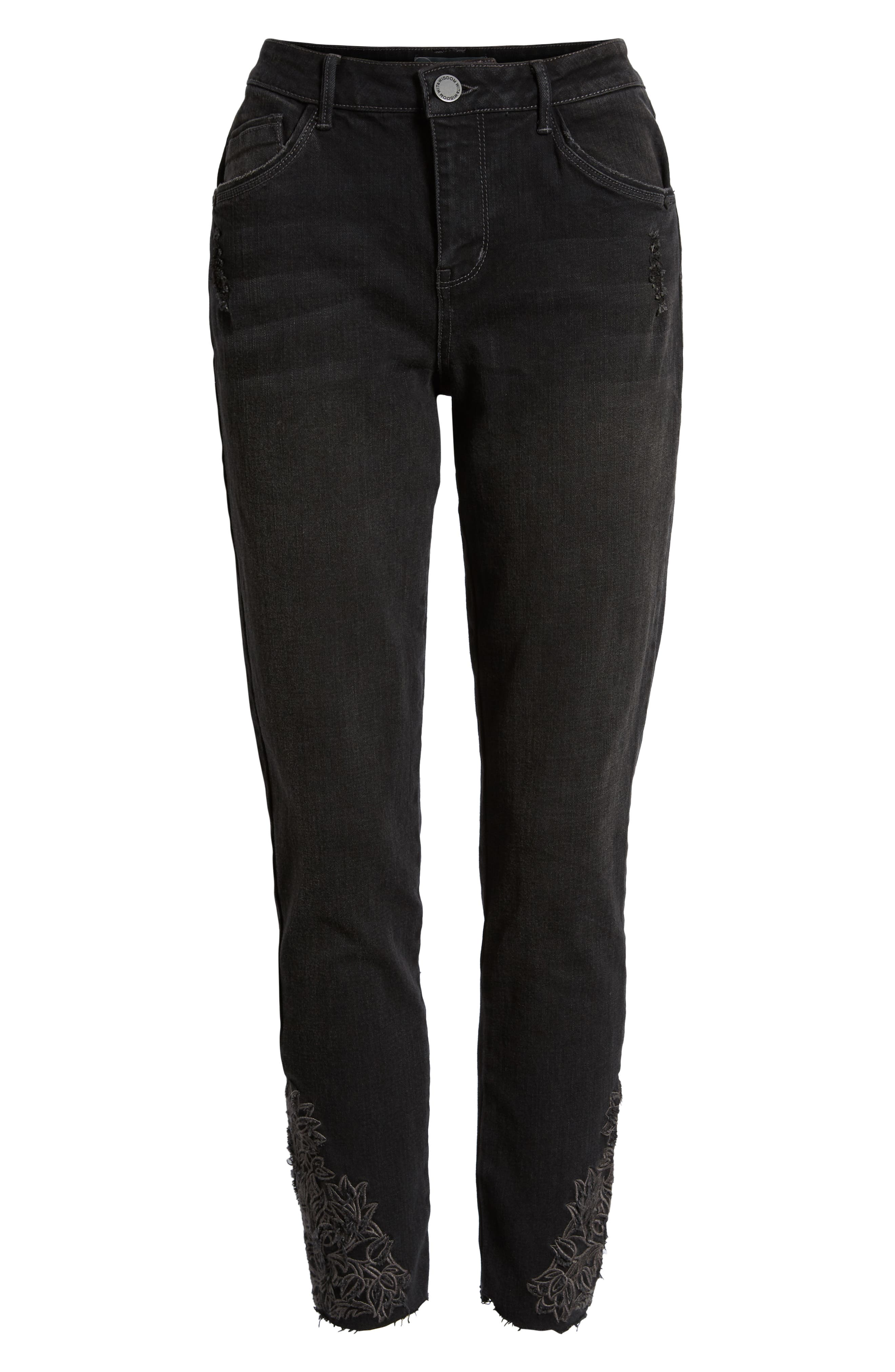 Embroidered High Rise Ankle Skimmer Jeans,                             Alternate thumbnail 7, color,                             001