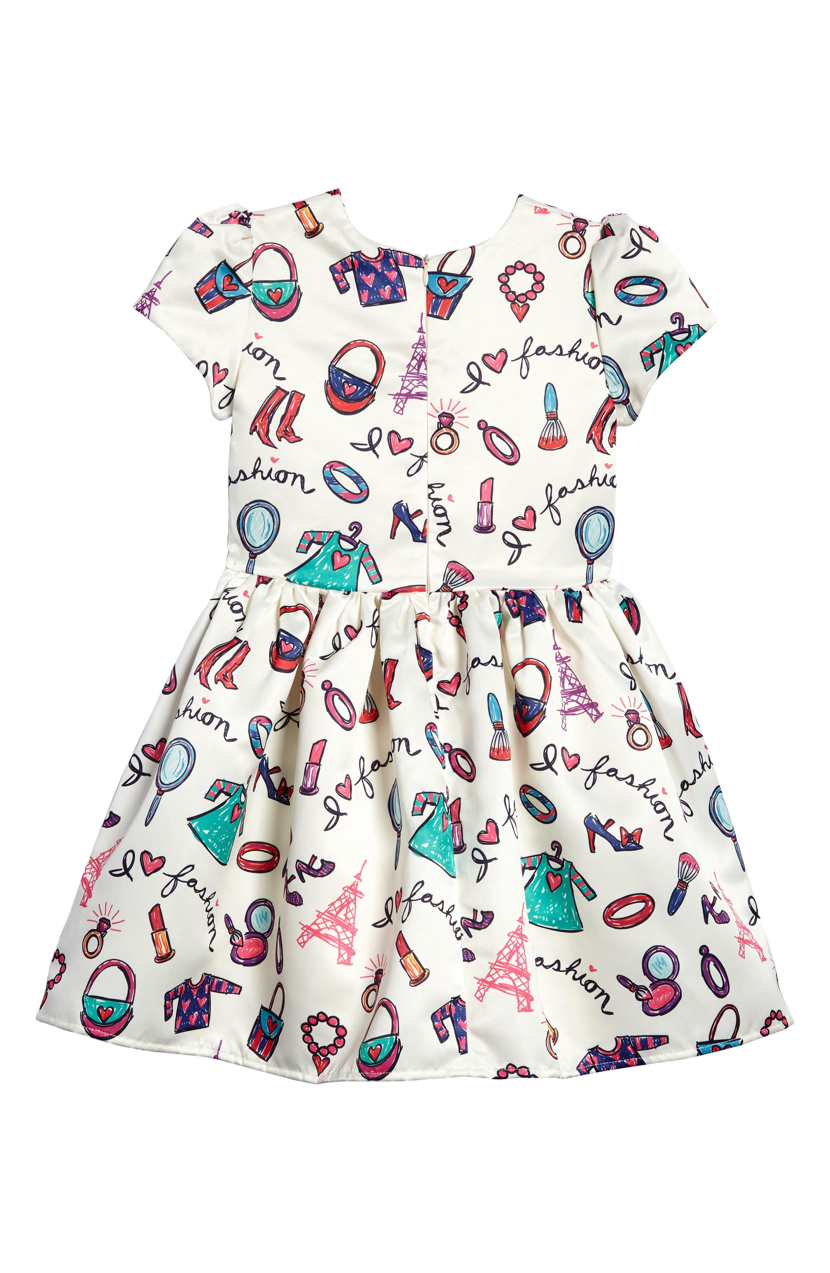 Fashion Print Fit & Flare Dress,                             Alternate thumbnail 2, color,