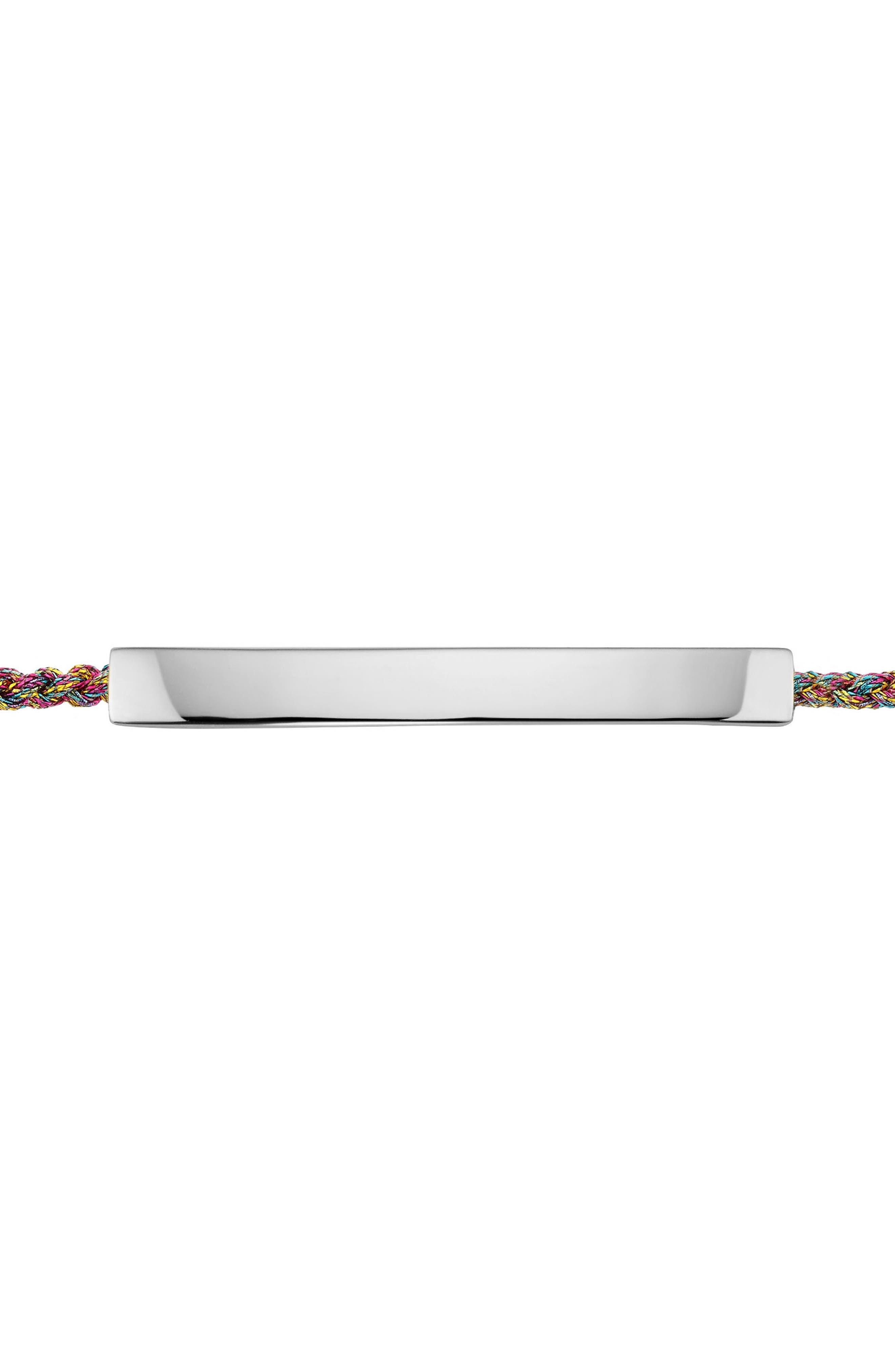 Engravable Linear Friendship Bracelet,                             Alternate thumbnail 3, color,                             SILVER/ RAINBOW