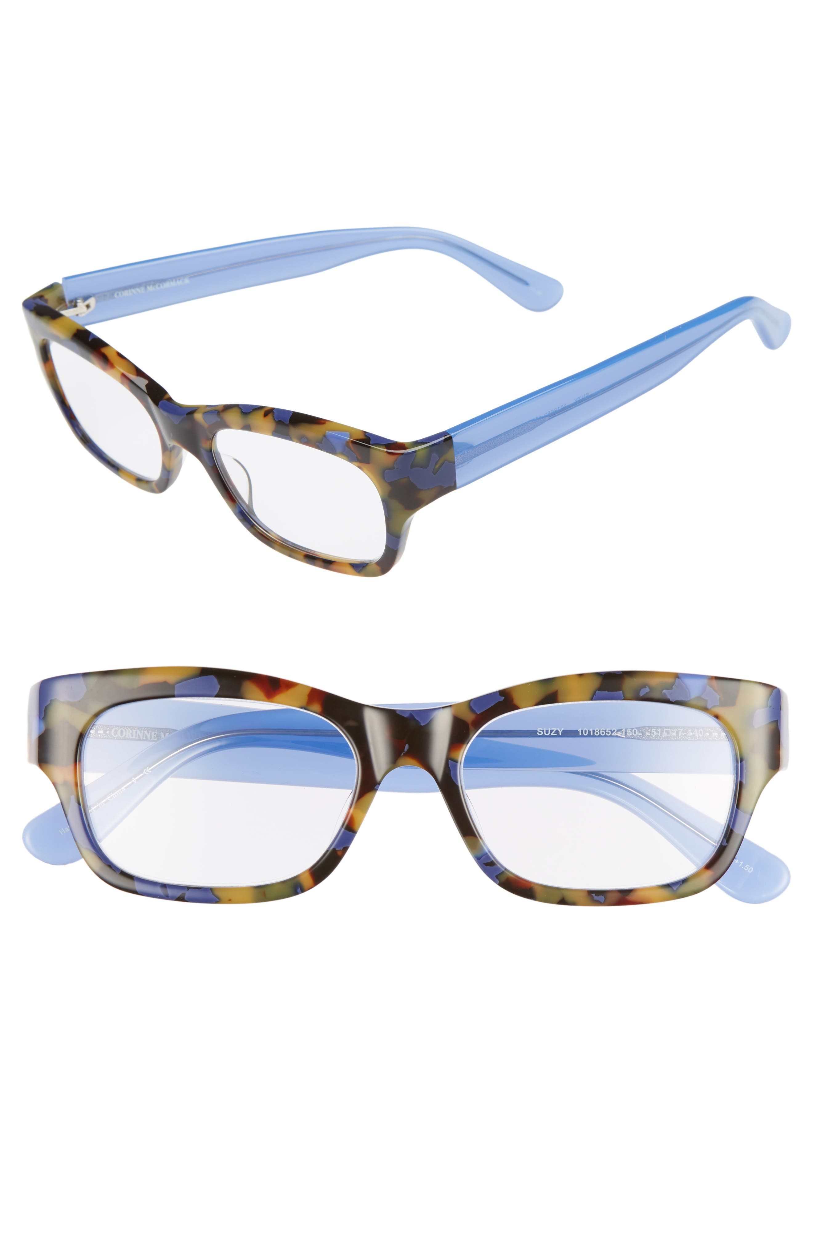Suzy 51mm Reading Glasses,                         Main,                         color, TORTOISE BLUE