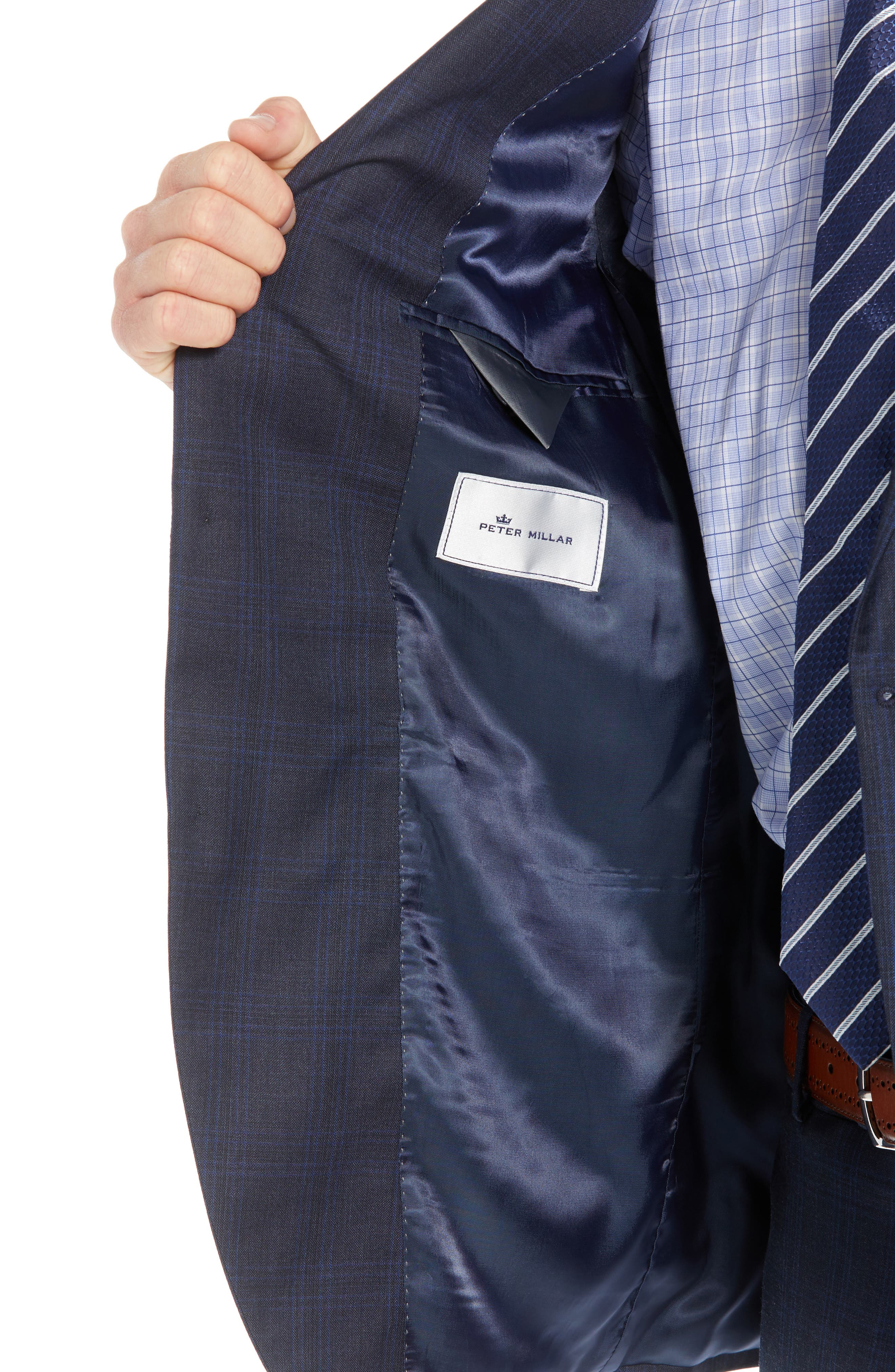 Flynn Classic Fit Plaid Wool Suit,                             Alternate thumbnail 4, color,                             NAVY