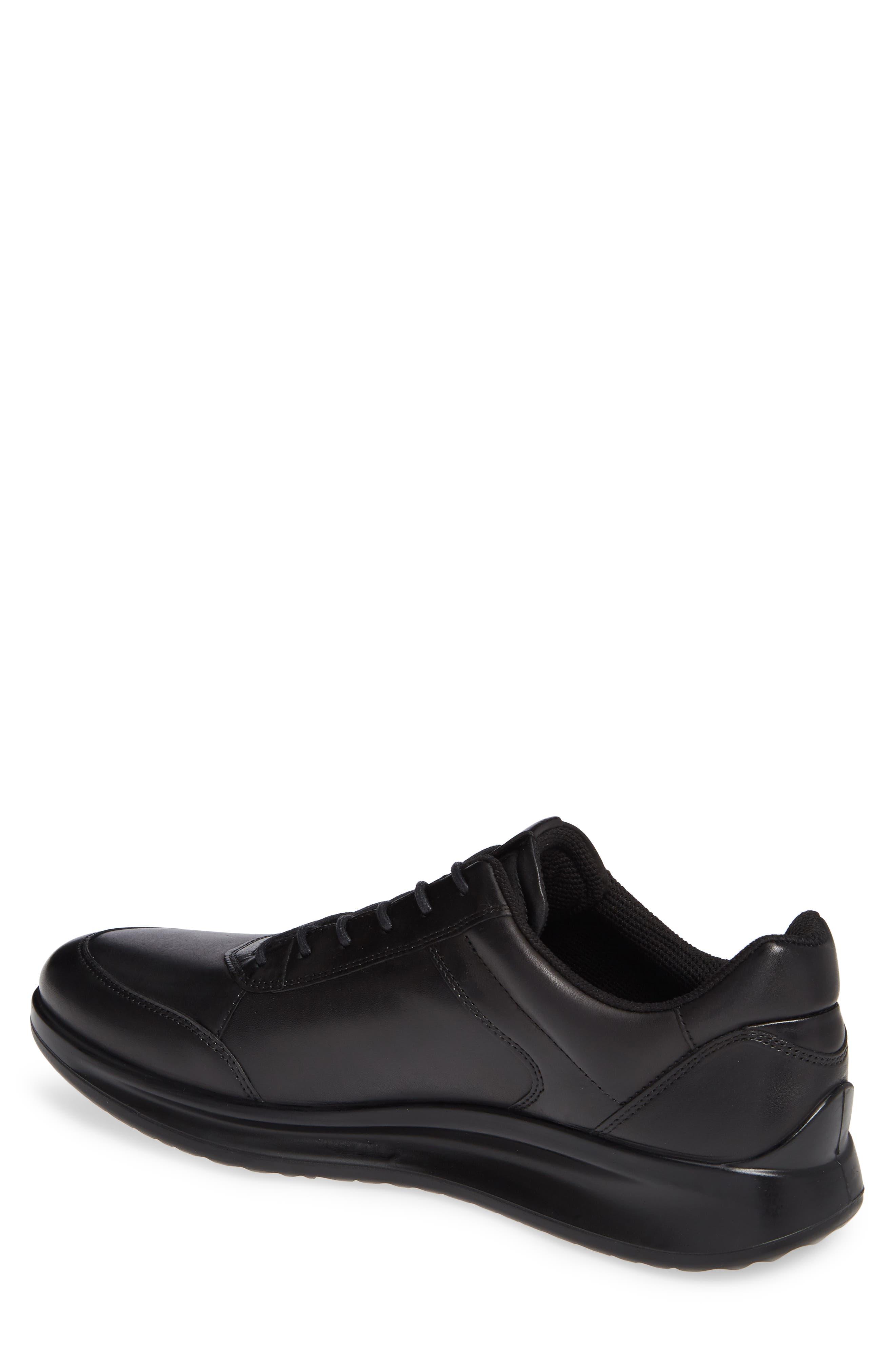 Aquet Low Top Sneaker,                             Alternate thumbnail 2, color,                             BLACK LEATHER
