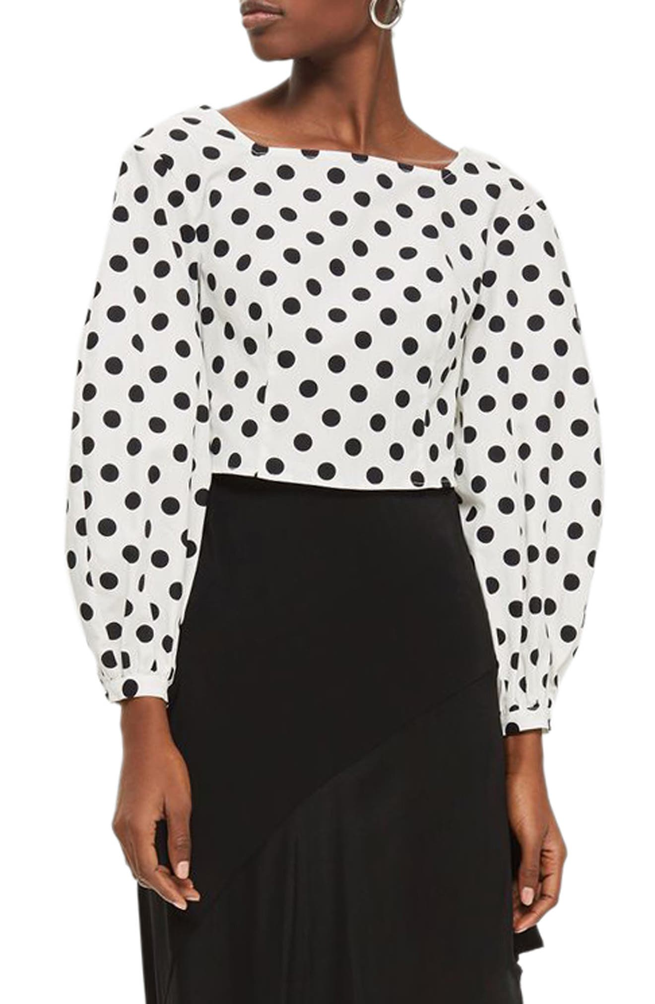 Polka Dot Balloon Sleeve Crop Top,                         Main,                         color, 100