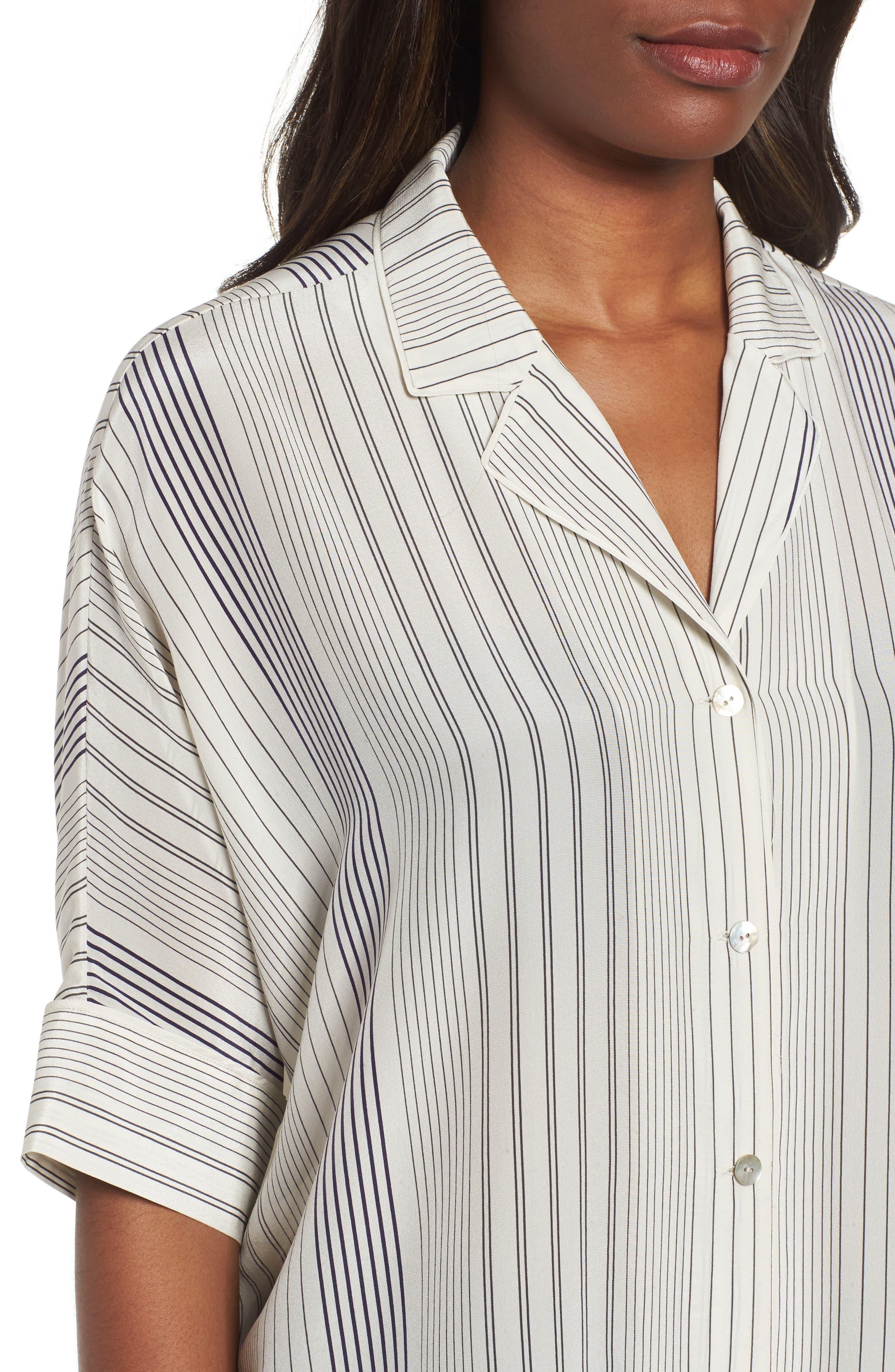 Stripe Silk Shirt,                             Alternate thumbnail 4, color,                             907