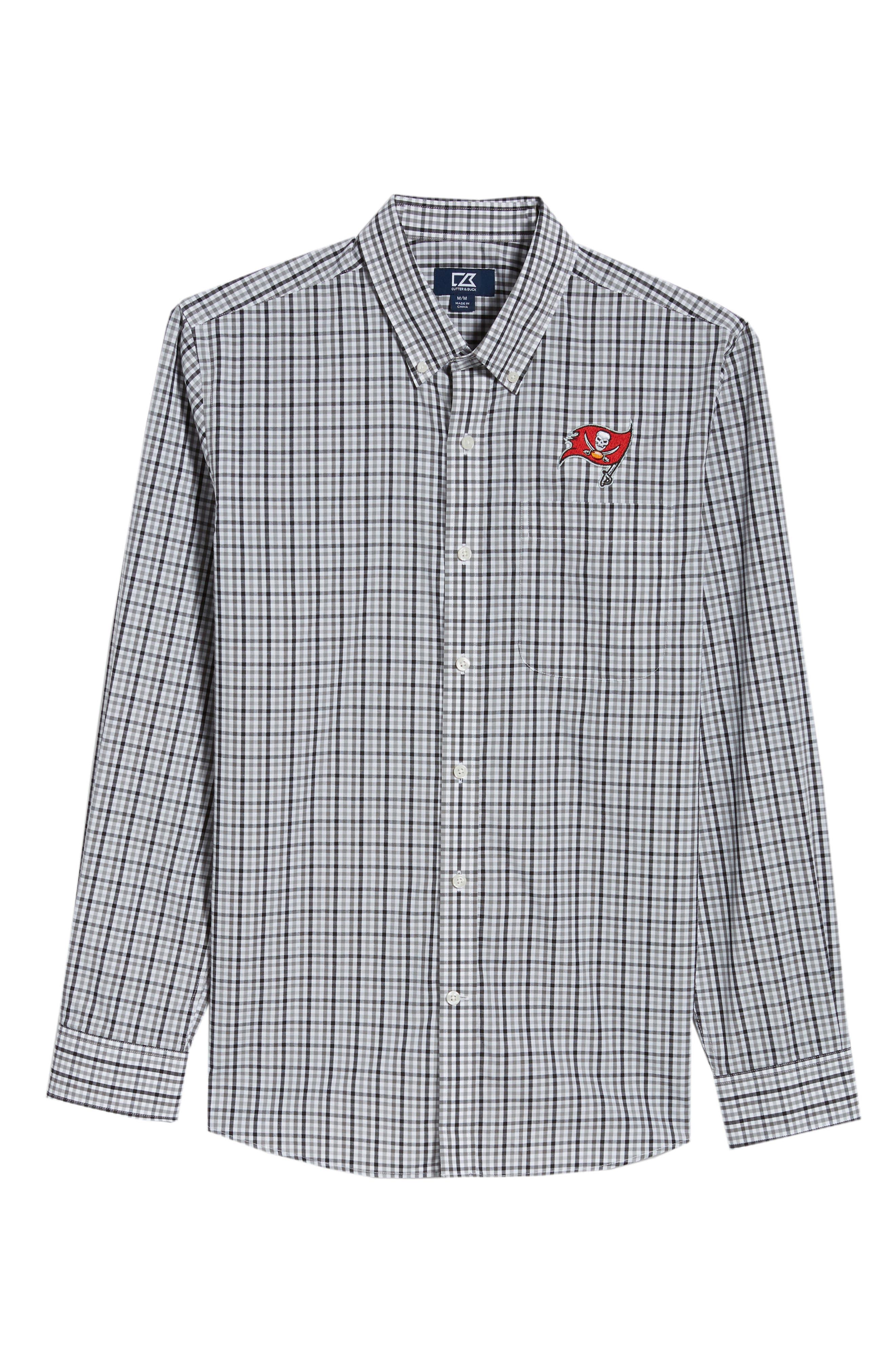 Tampa Bay Buccaneers - Gilman Regular Fit Plaid Sport Shirt,                             Alternate thumbnail 6, color,                             BLACK