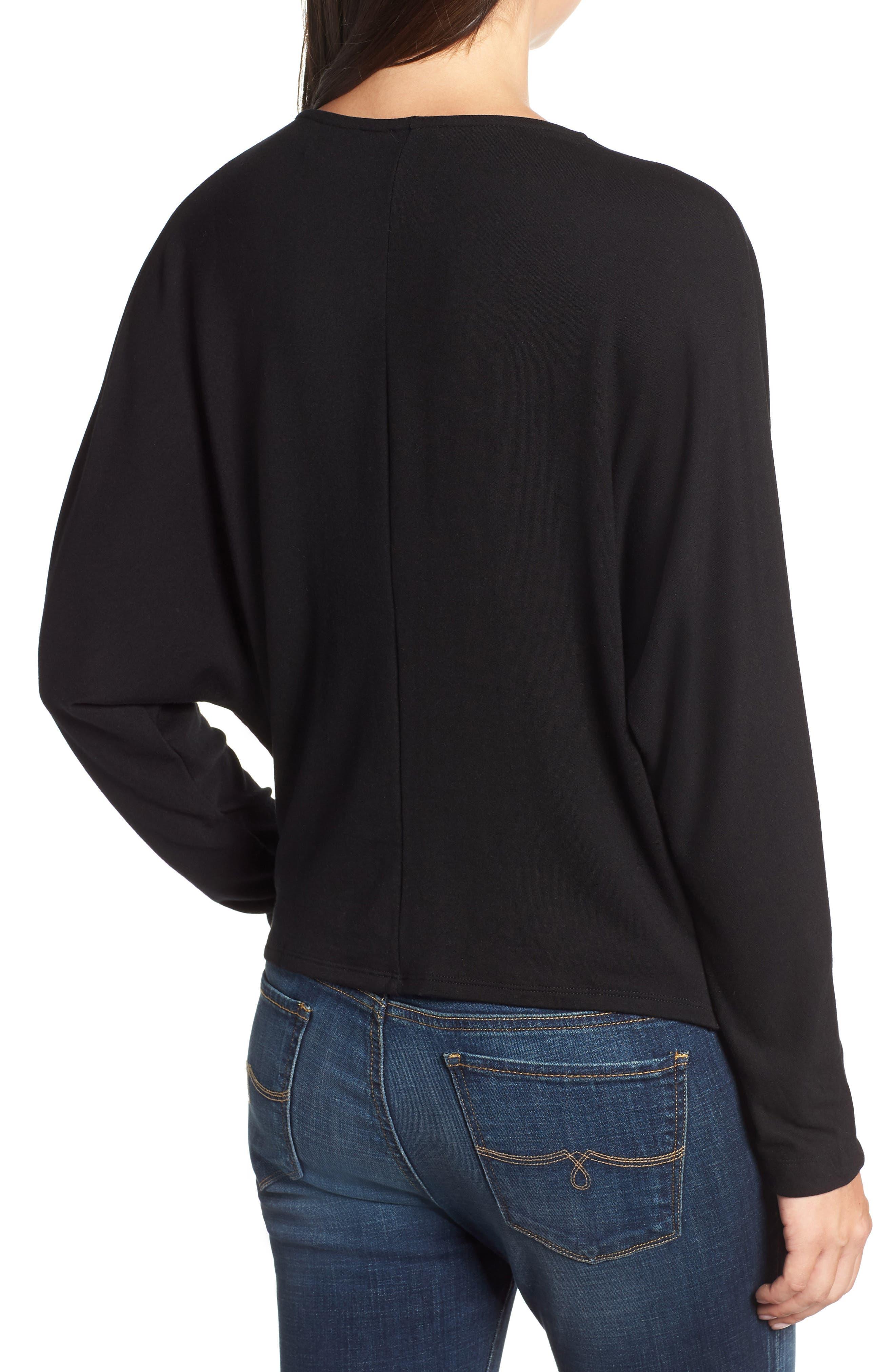 Drape Front Dolman Sleeve Top,                             Alternate thumbnail 2, color,                             BLACK