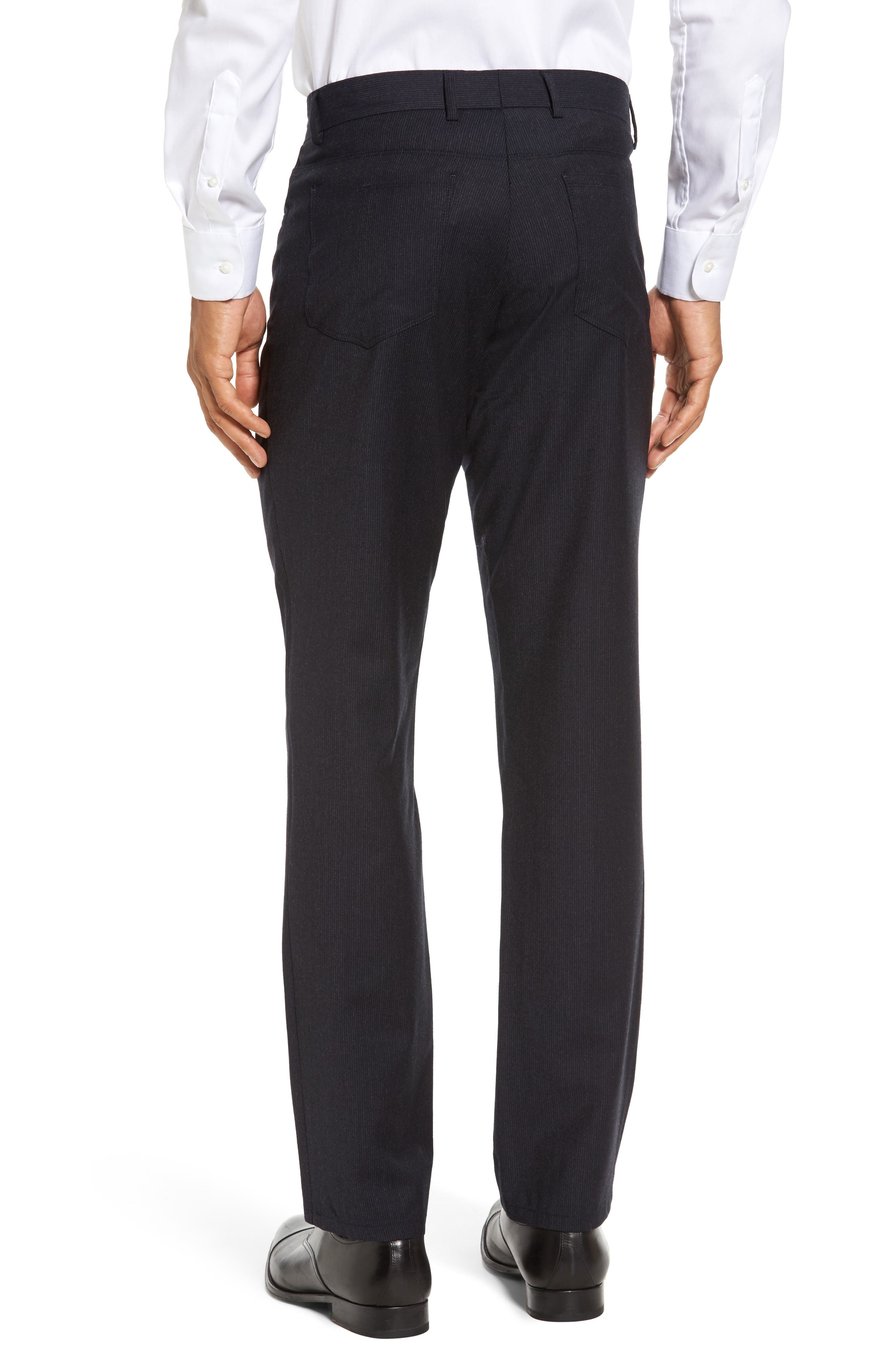 Flat Front Stripe Stretch Wool Trousers,                             Alternate thumbnail 4, color,