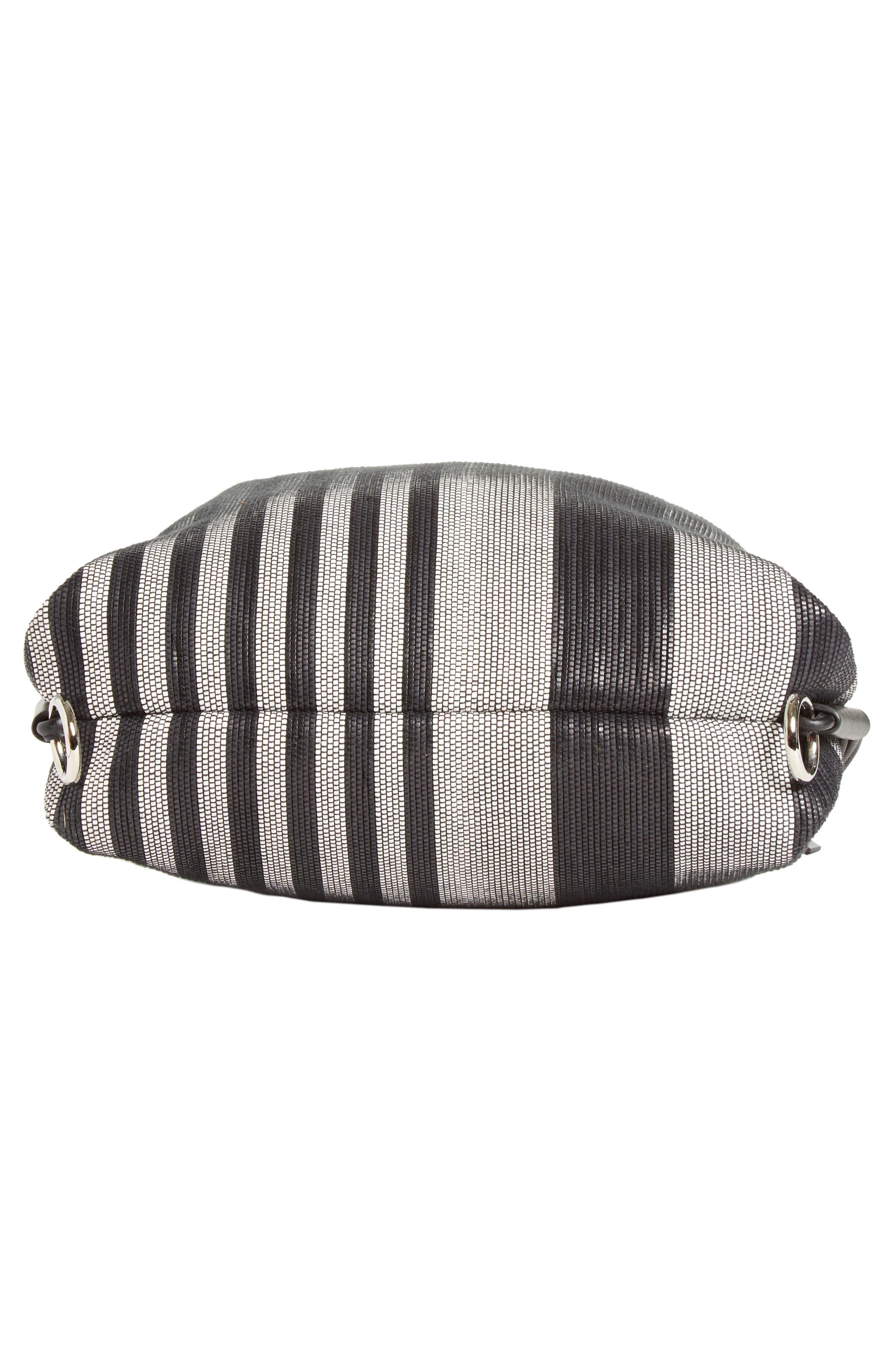 Drawstring Backpack,                             Alternate thumbnail 4, color,                             BLACK/WHITE