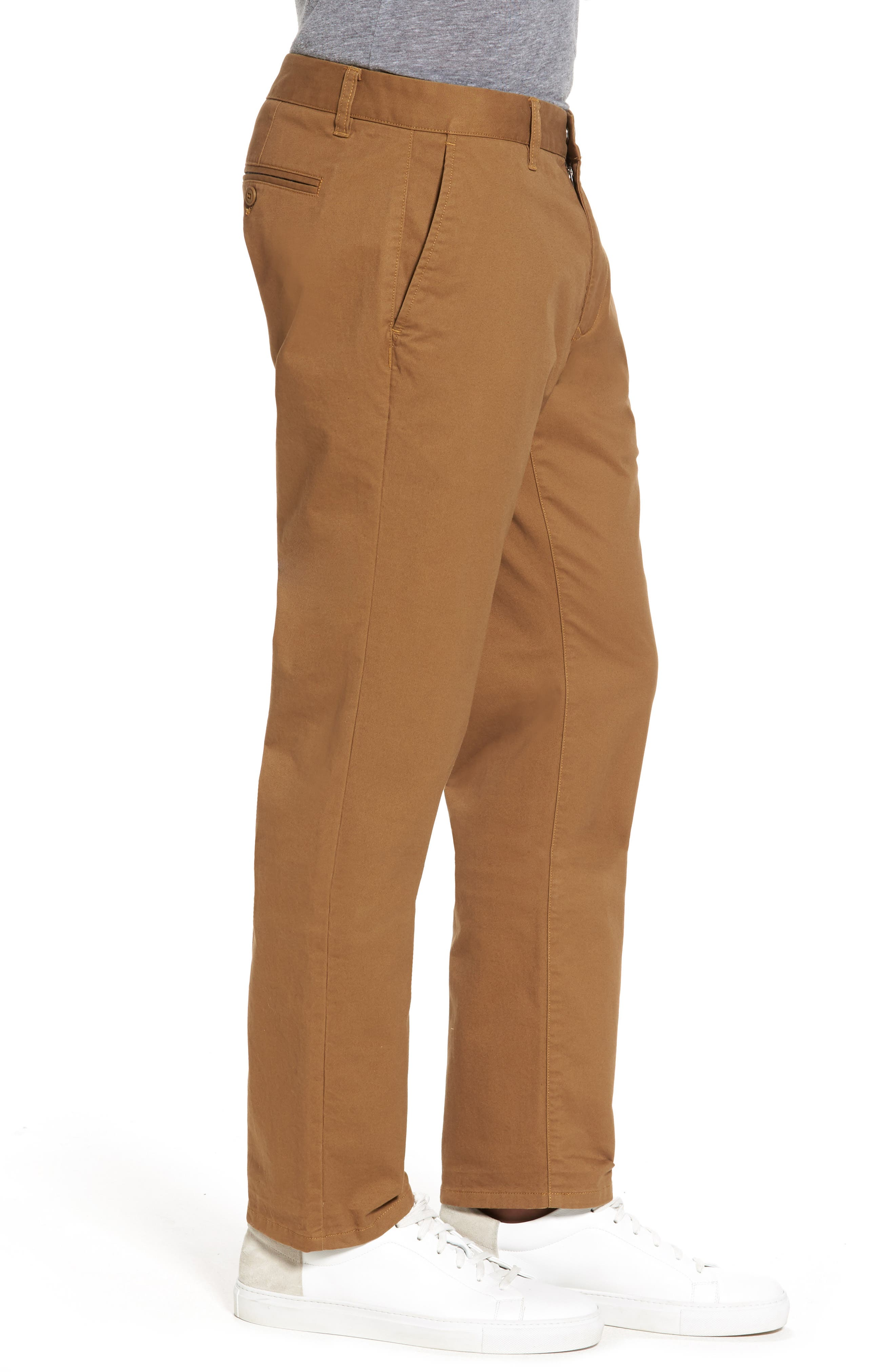 Slim Fit Stretch Washed Chinos,                             Alternate thumbnail 3, color,                             CHESTNUTS